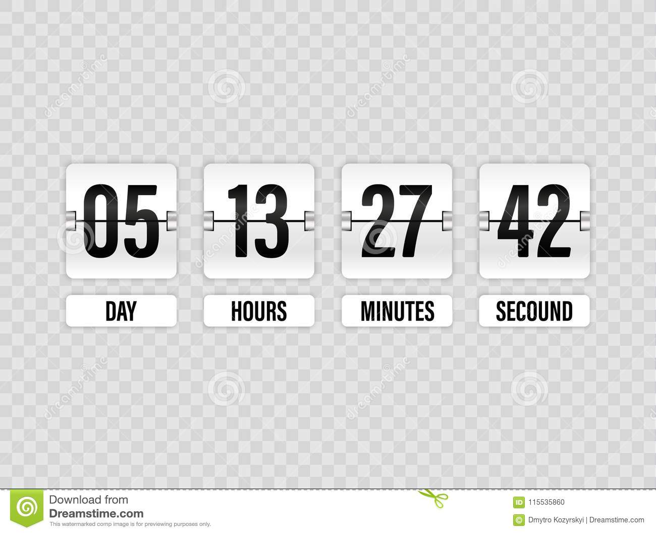 White Countdown Timer With White Numbers Isolated On Transparent ...