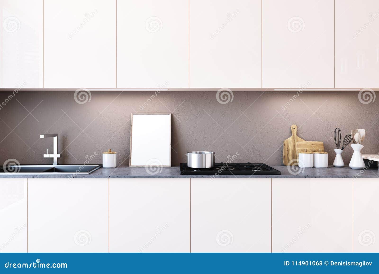 White Kitchen Countertop Poster Stock Illustration Illustration