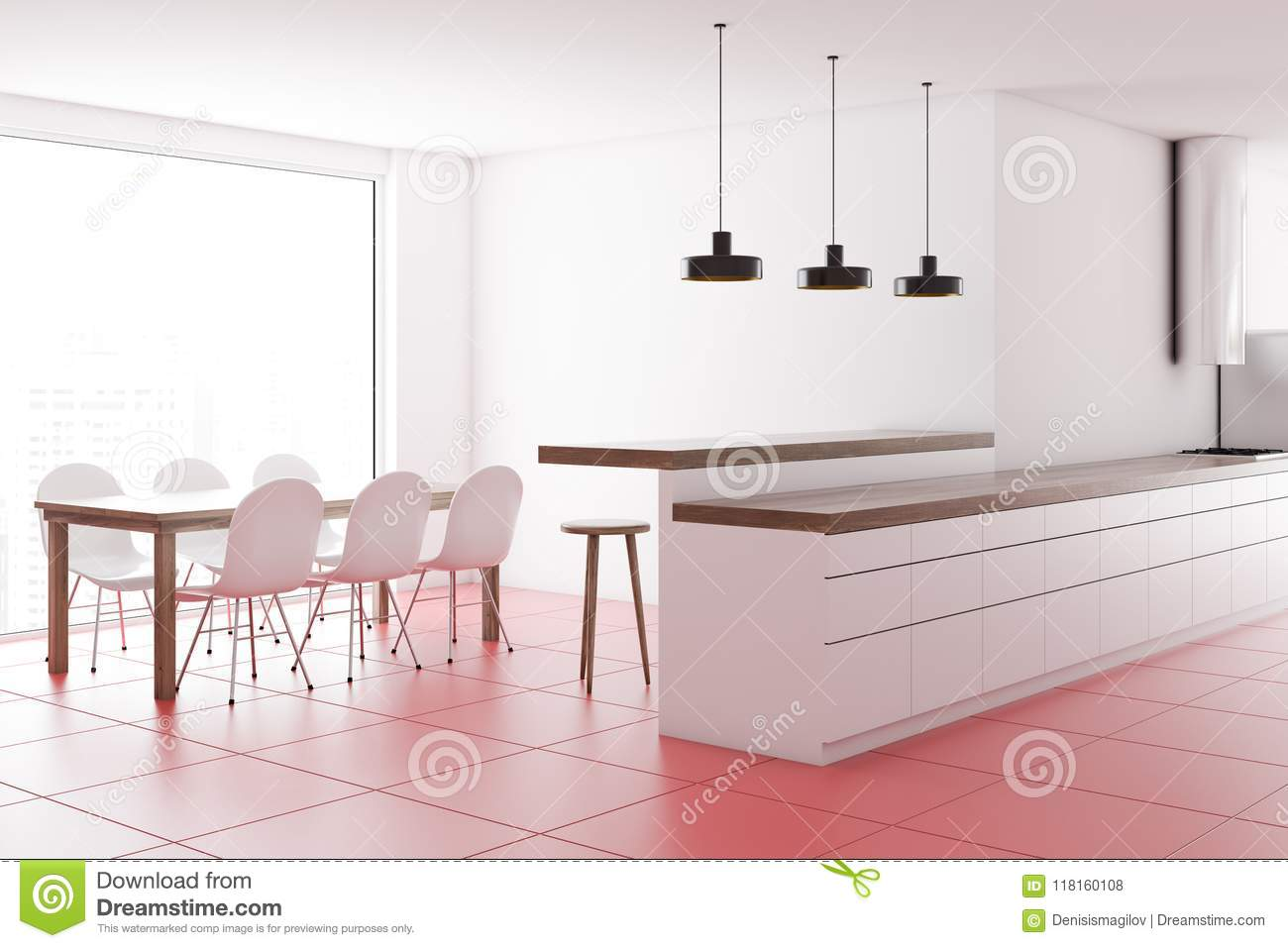 White Countertops In A Pink Floor Kitchen, Table Stock ...