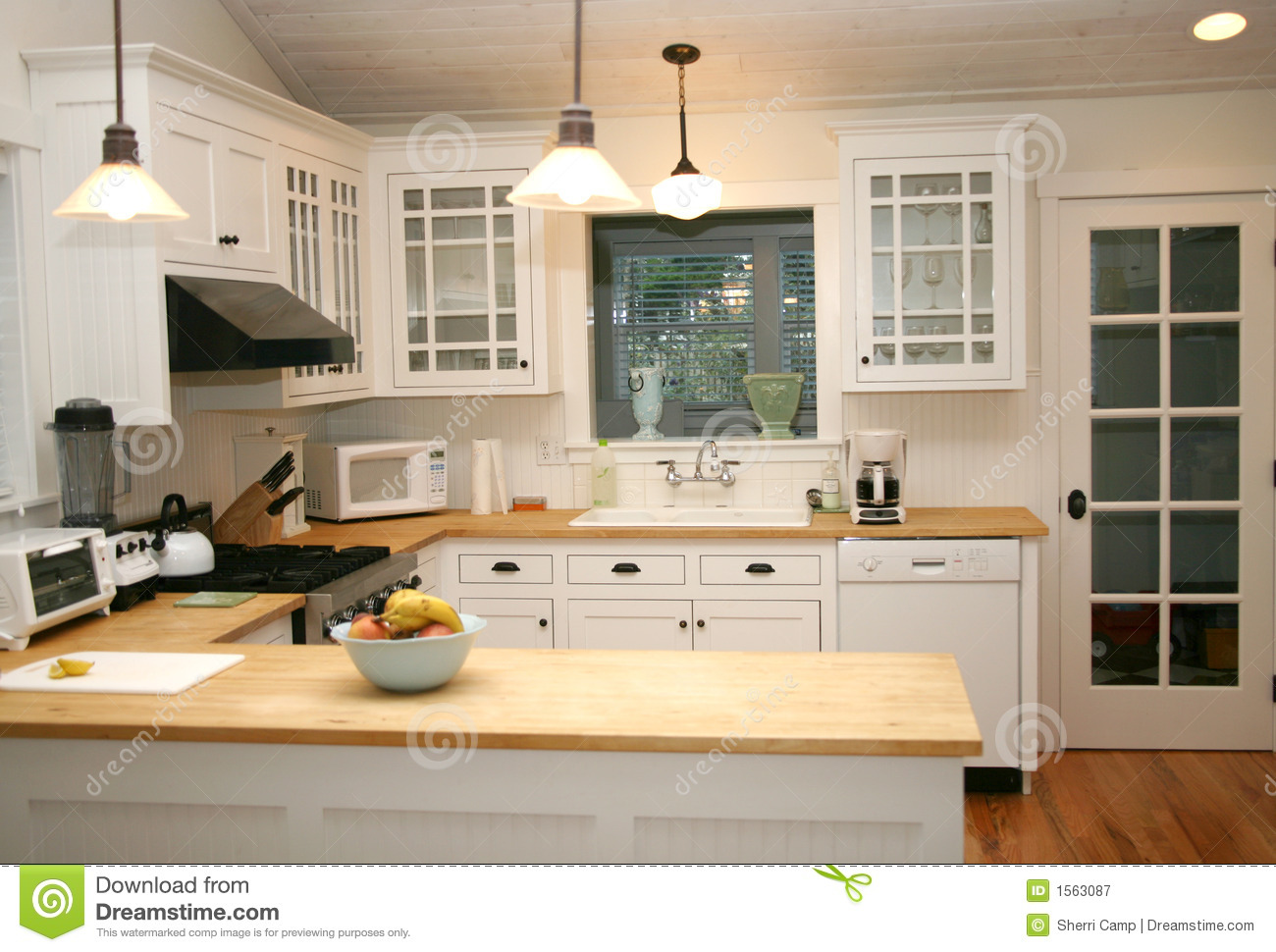 White country kitchen stock image image of glass modern for Bungalow style kitchen cabinets