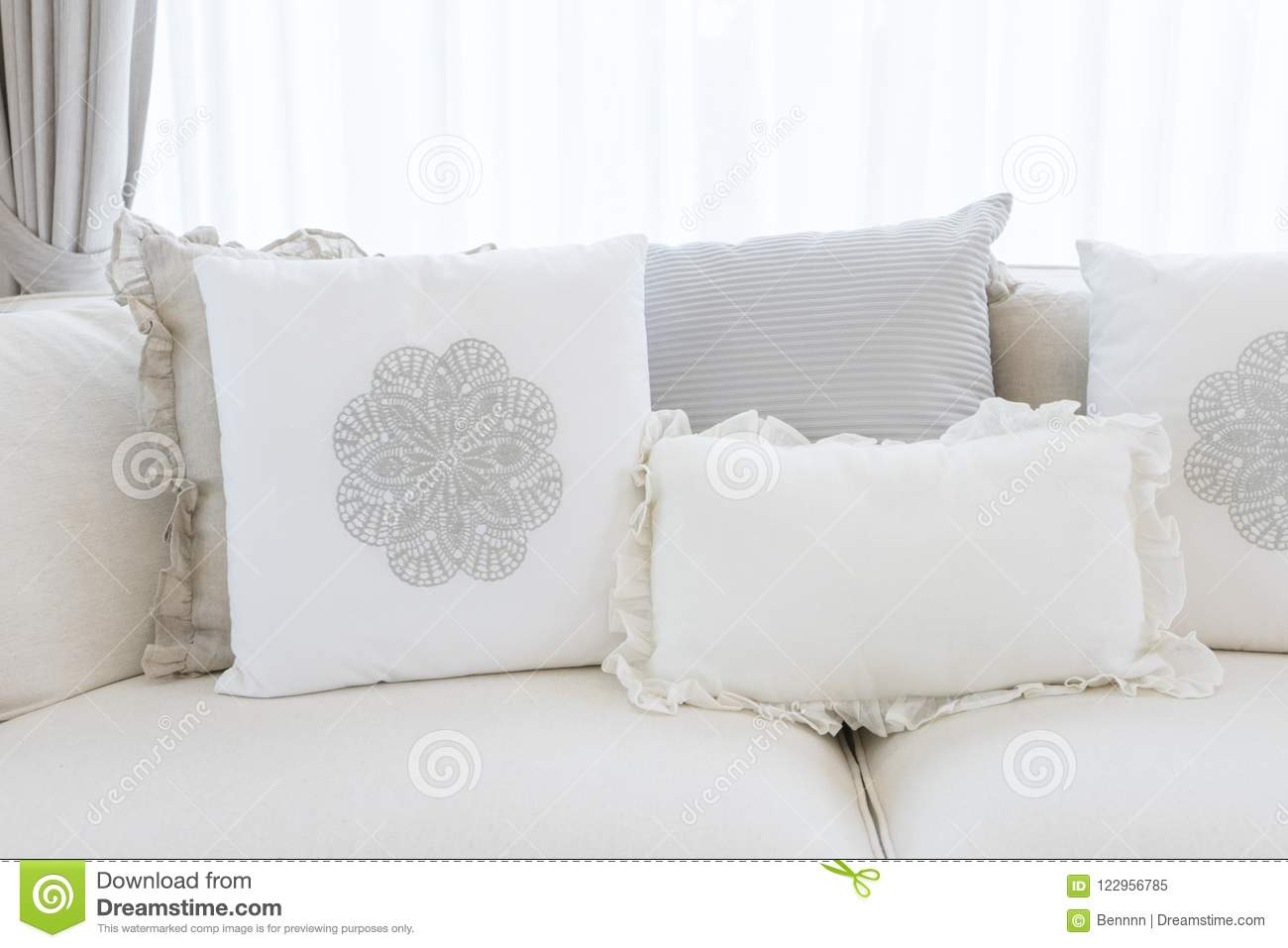 Excellent White Sofa With Many Elegance Cushions On It Stock Image Squirreltailoven Fun Painted Chair Ideas Images Squirreltailovenorg