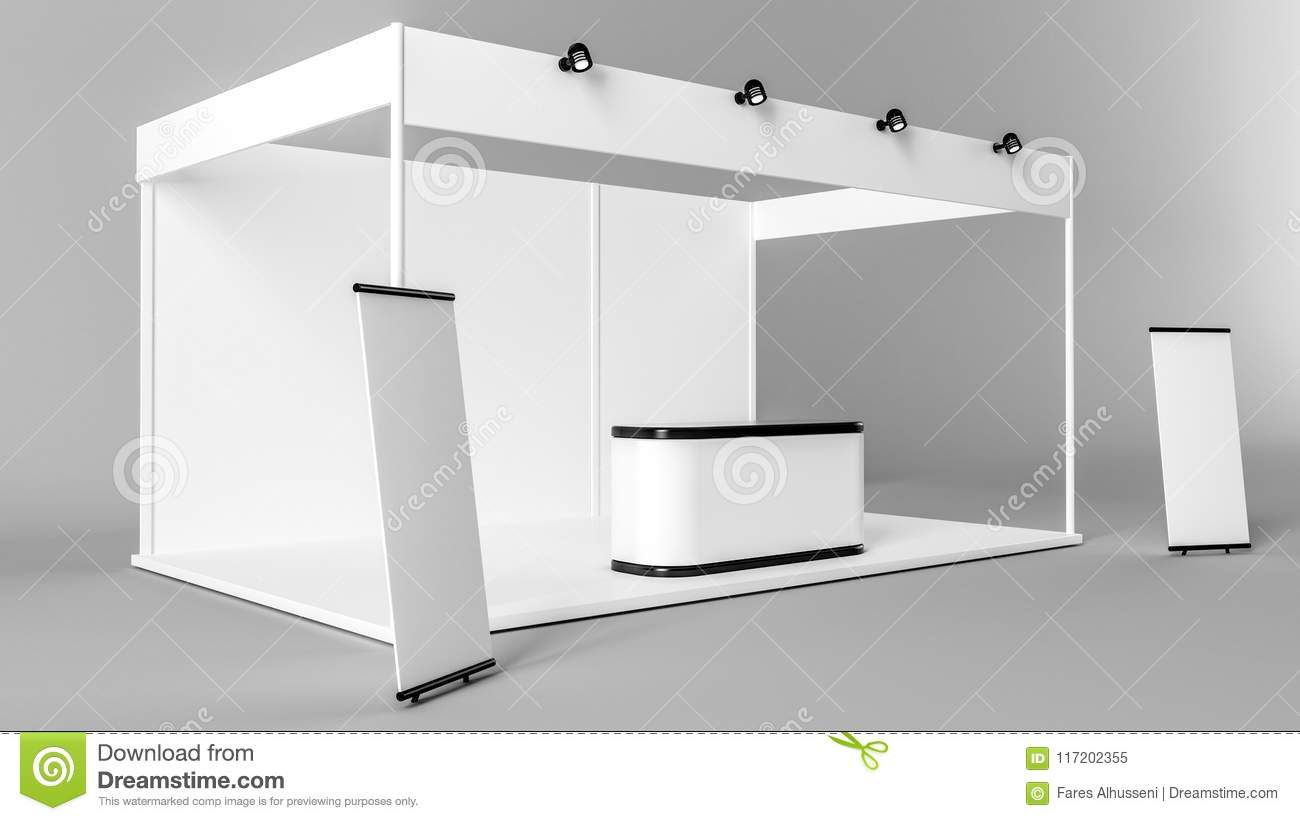 Exhibition Stand Design 3d Max : White creative exhibition stand design booth template corporate
