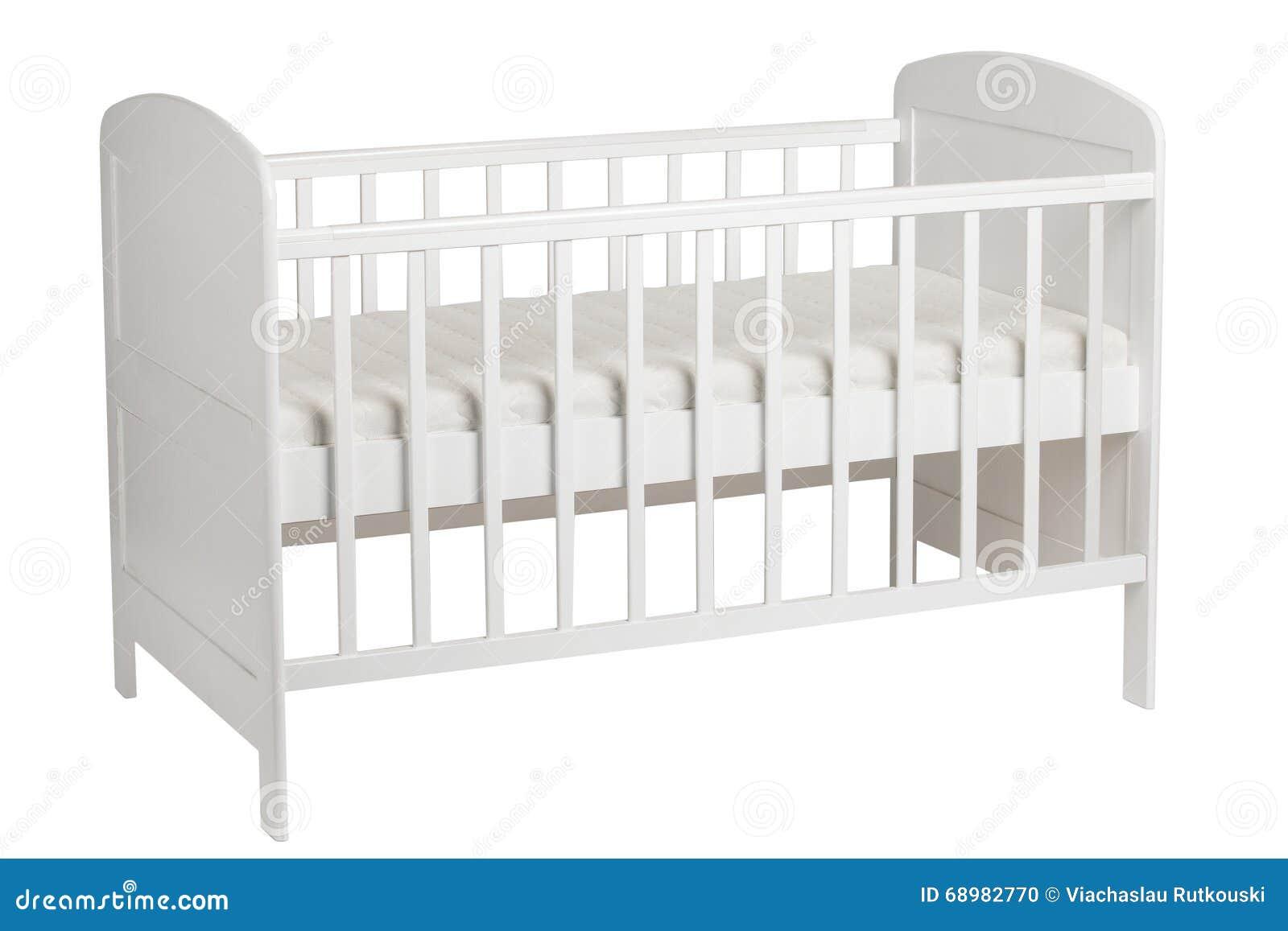 White crib for kids on white background