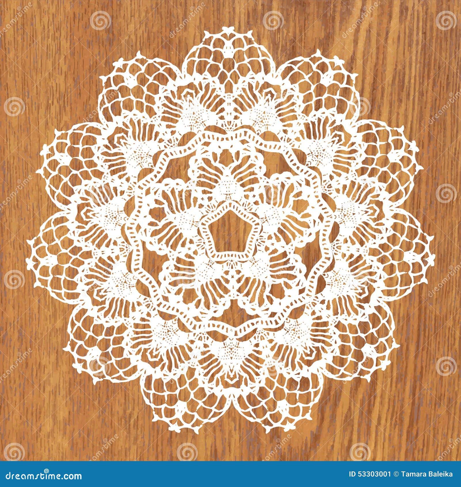 Crochet Patterns Vector : White Crochet Doily. Stock Vector - Image: 53303001