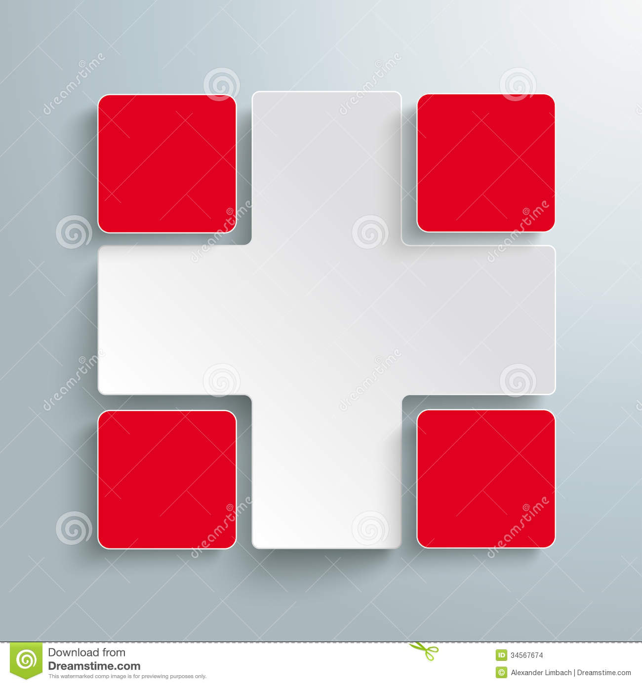 Infographic design on the grey background eps 10 vector file - White Cross 4 Red Rectangles Piad Stock Images Image