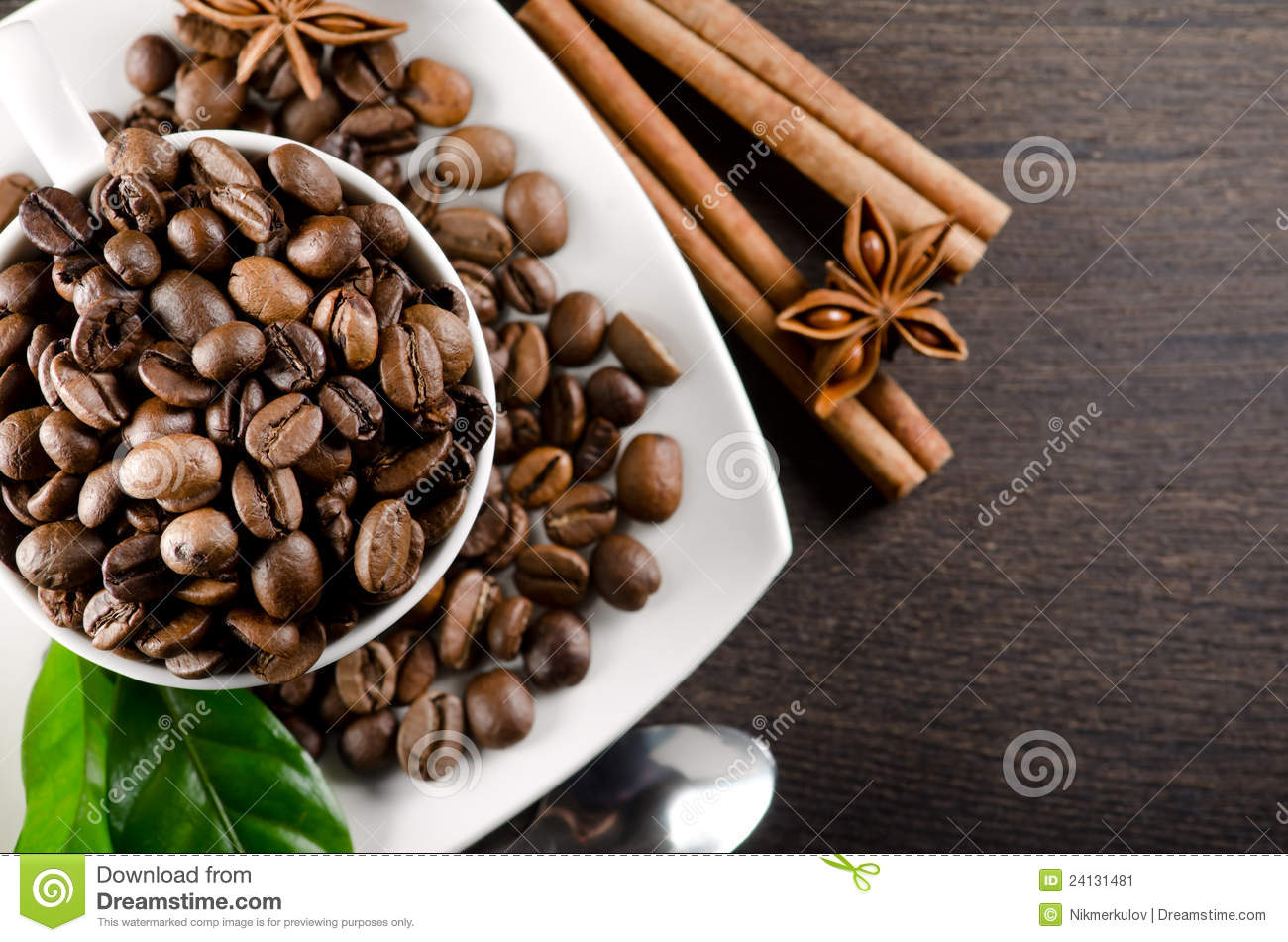 White cup of coffee beans