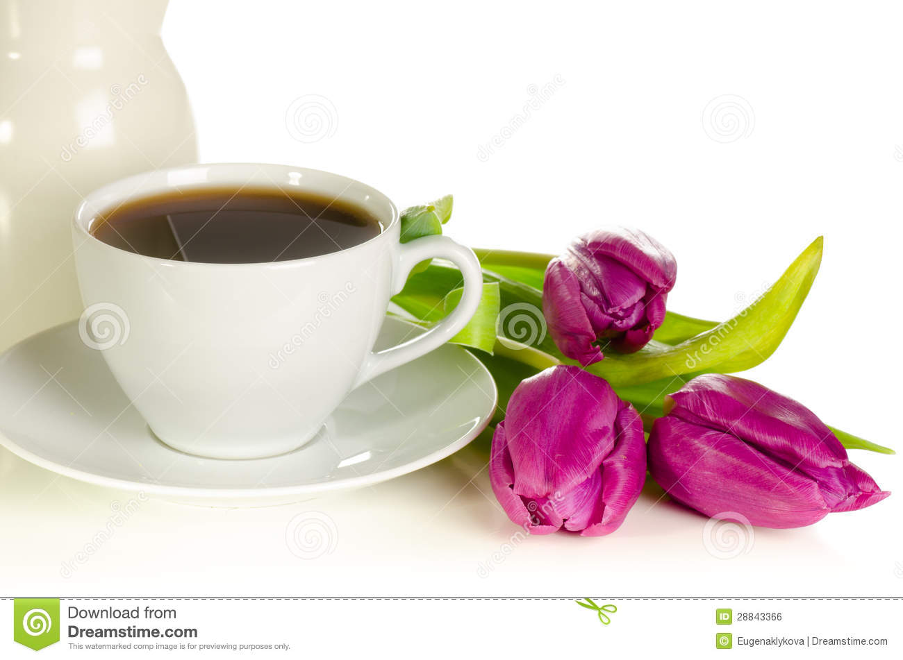 White Cup Of Coffee With Bunch Of Purple Tulips On White