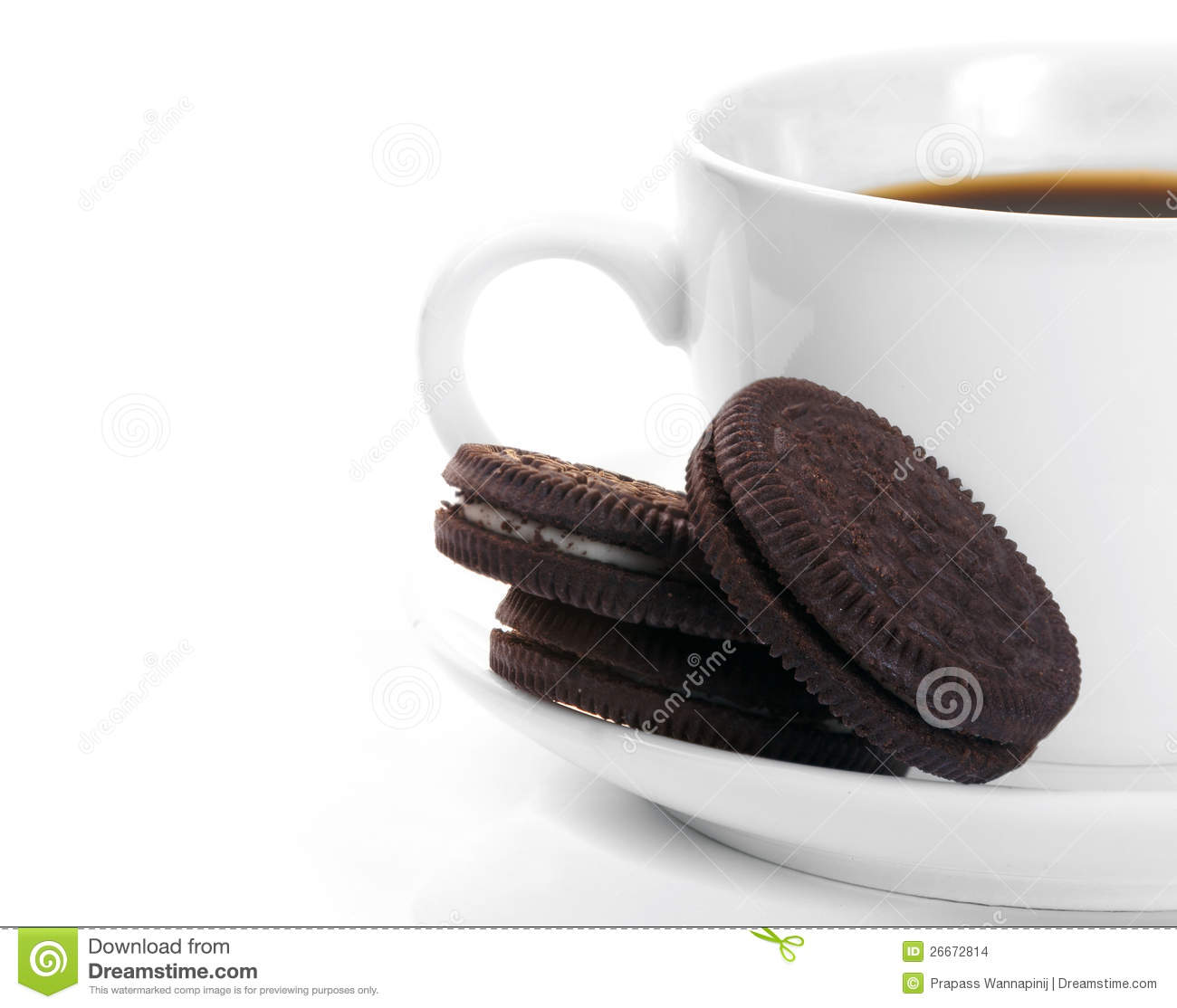 White Cup Of Dark Coffee And Chocolate Cookies Stock ...