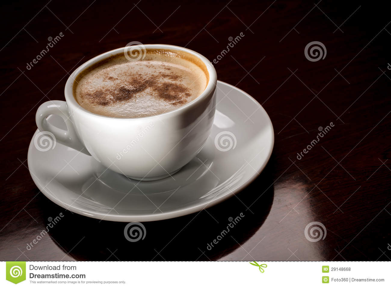 White Cup Of Freshly Brewed Coffee In Cafeteria Royalty