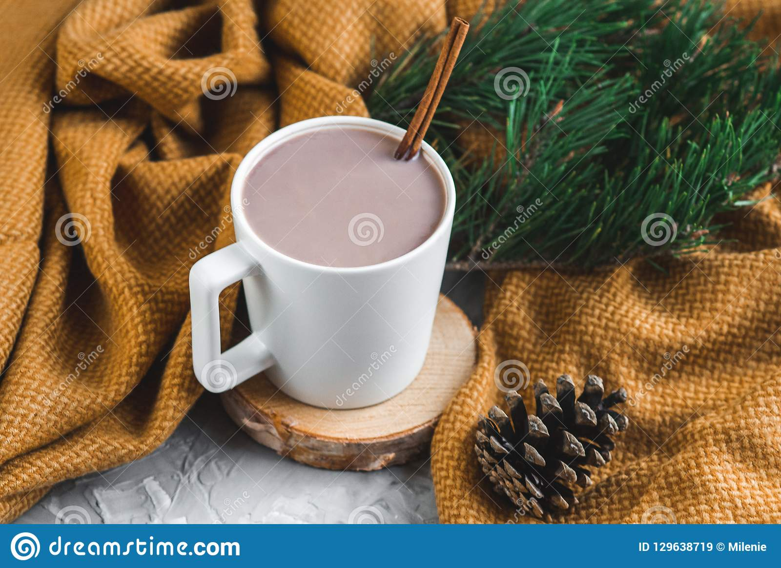 White Cup of Hot Chocolate, Yellow Plaid, Cone, Pine Branch, Fir Tree, Gray Background, Autumn Concept, Winter, Cosiness, Instagr