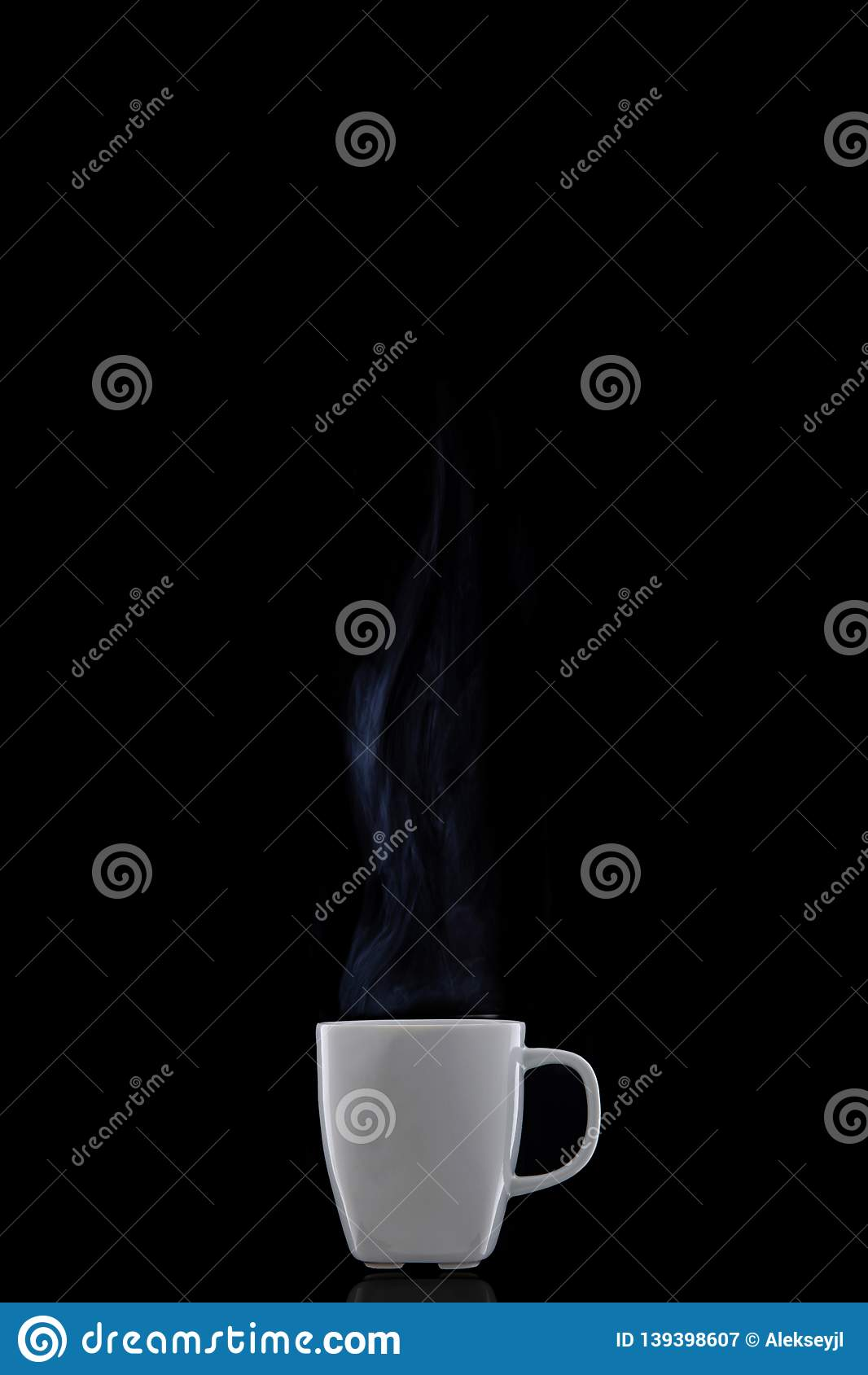 White cup with hot coffee. Steam Rising.