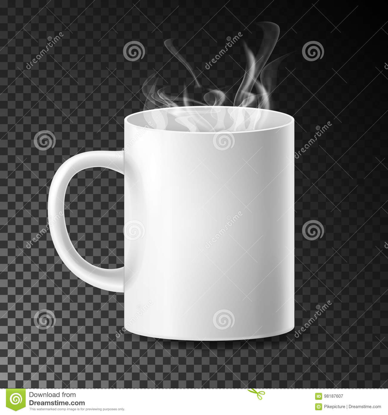 White Cup, Mug Vector. Realistic Ceramic Or Plastic Cup On Transparent Background. Empty Classic Cafe Cup With