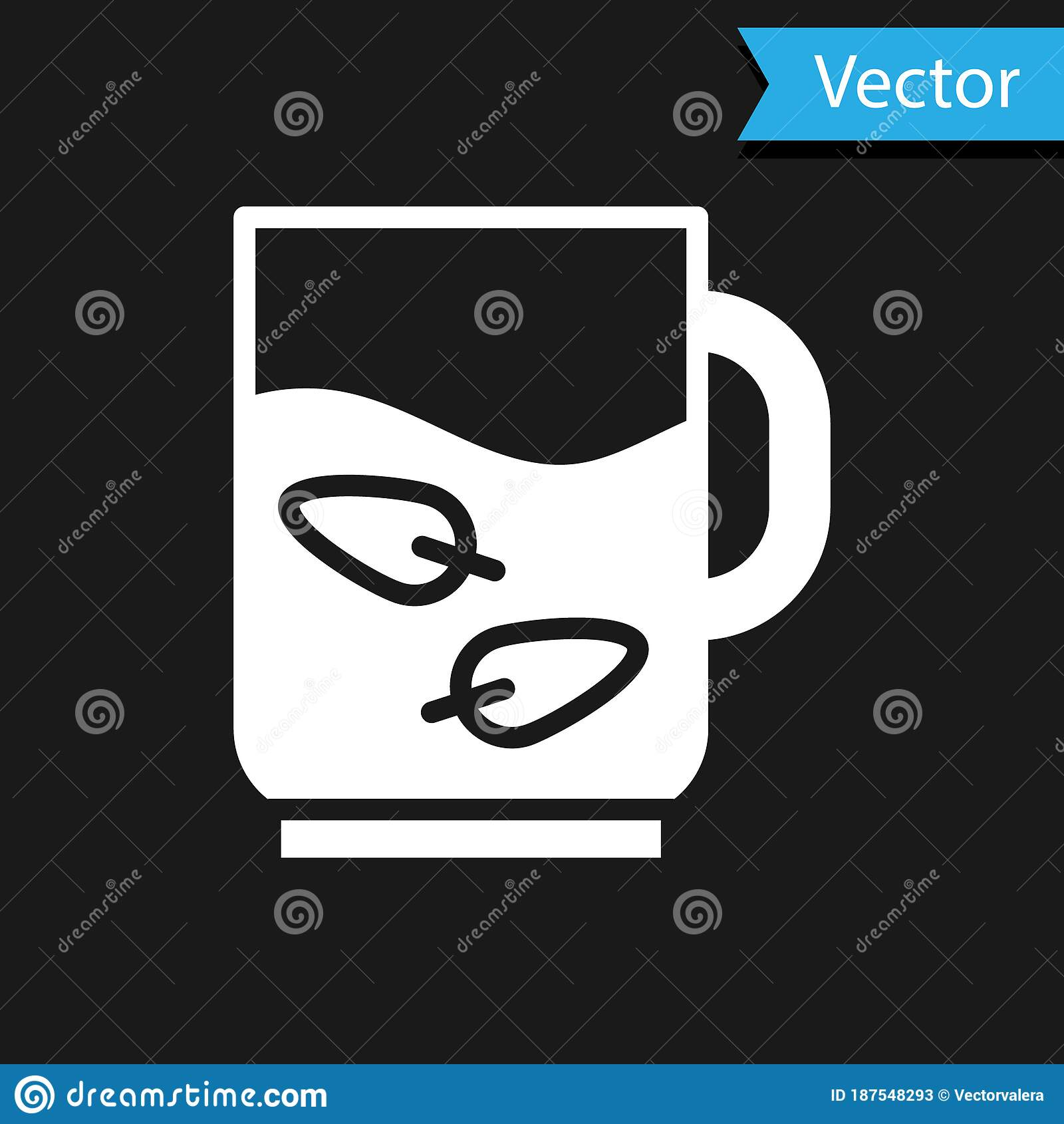 white cup of tea and leaf icon isolated on black background vector stock vector illustration of beverage background 187548293 white cup of tea and leaf icon isolated on black background vector stock vector illustration of beverage background 187548293