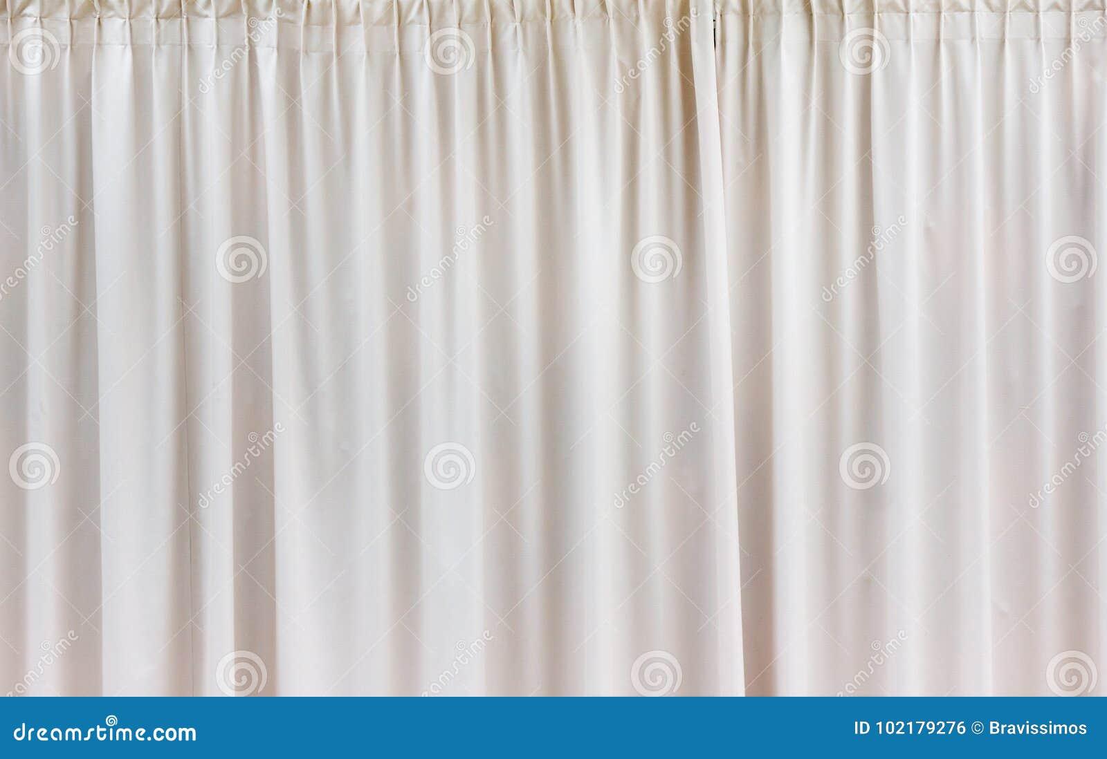 White Curtain Background Textile Pattern Stock Photo