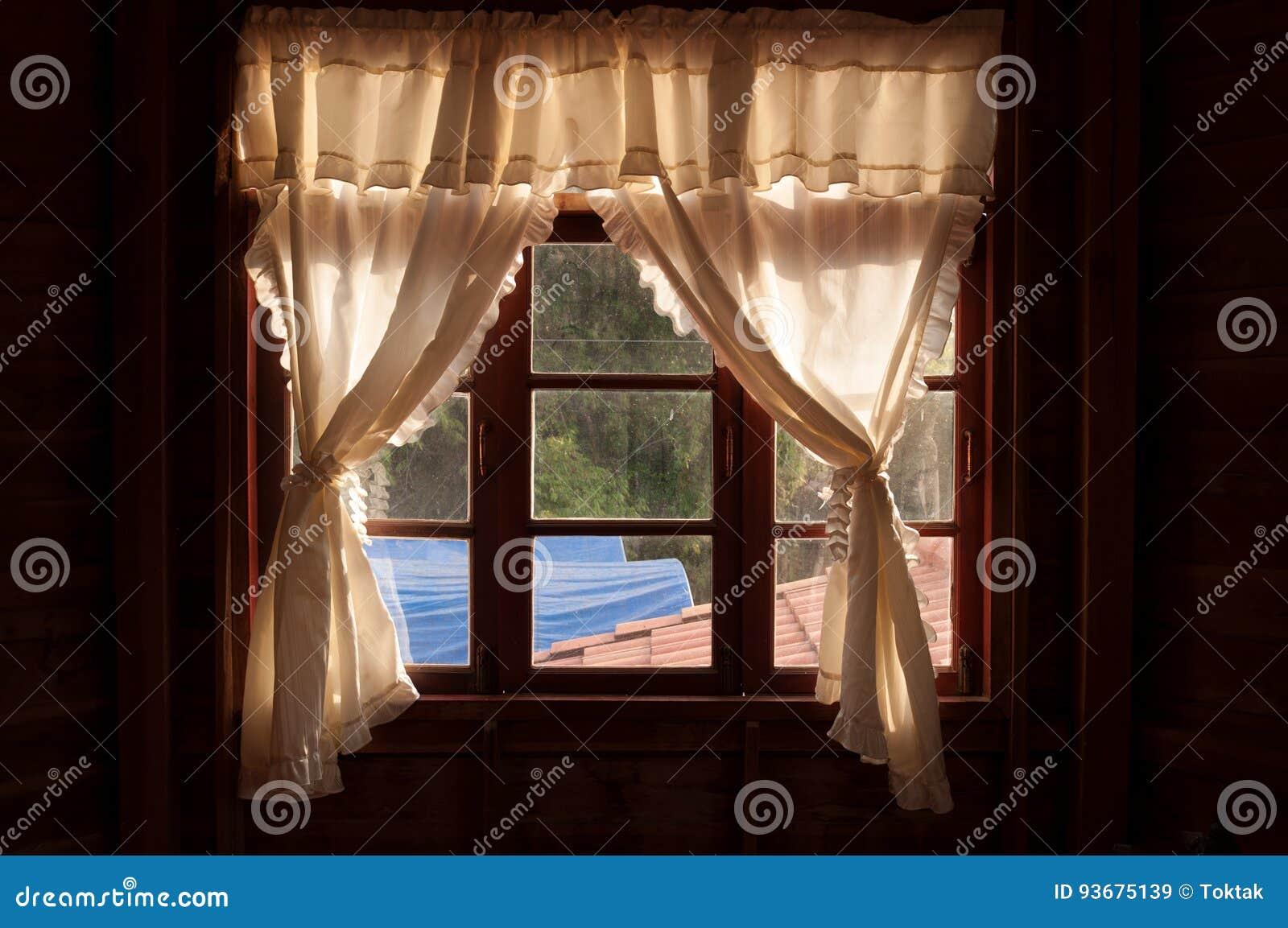 White Curtainson Wood Window Frame Stock Image Image Of Blind Curtain 93675139