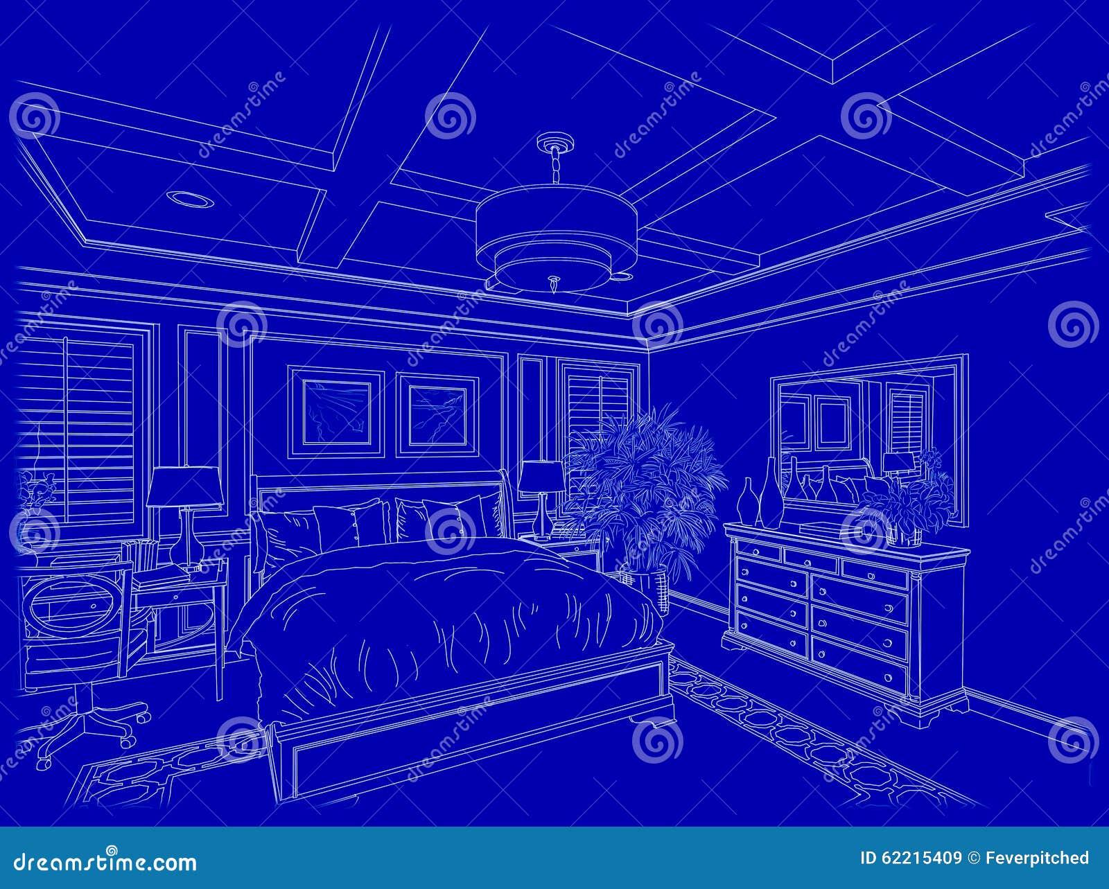 White Custom Bedroom Design Drawing Blueprints