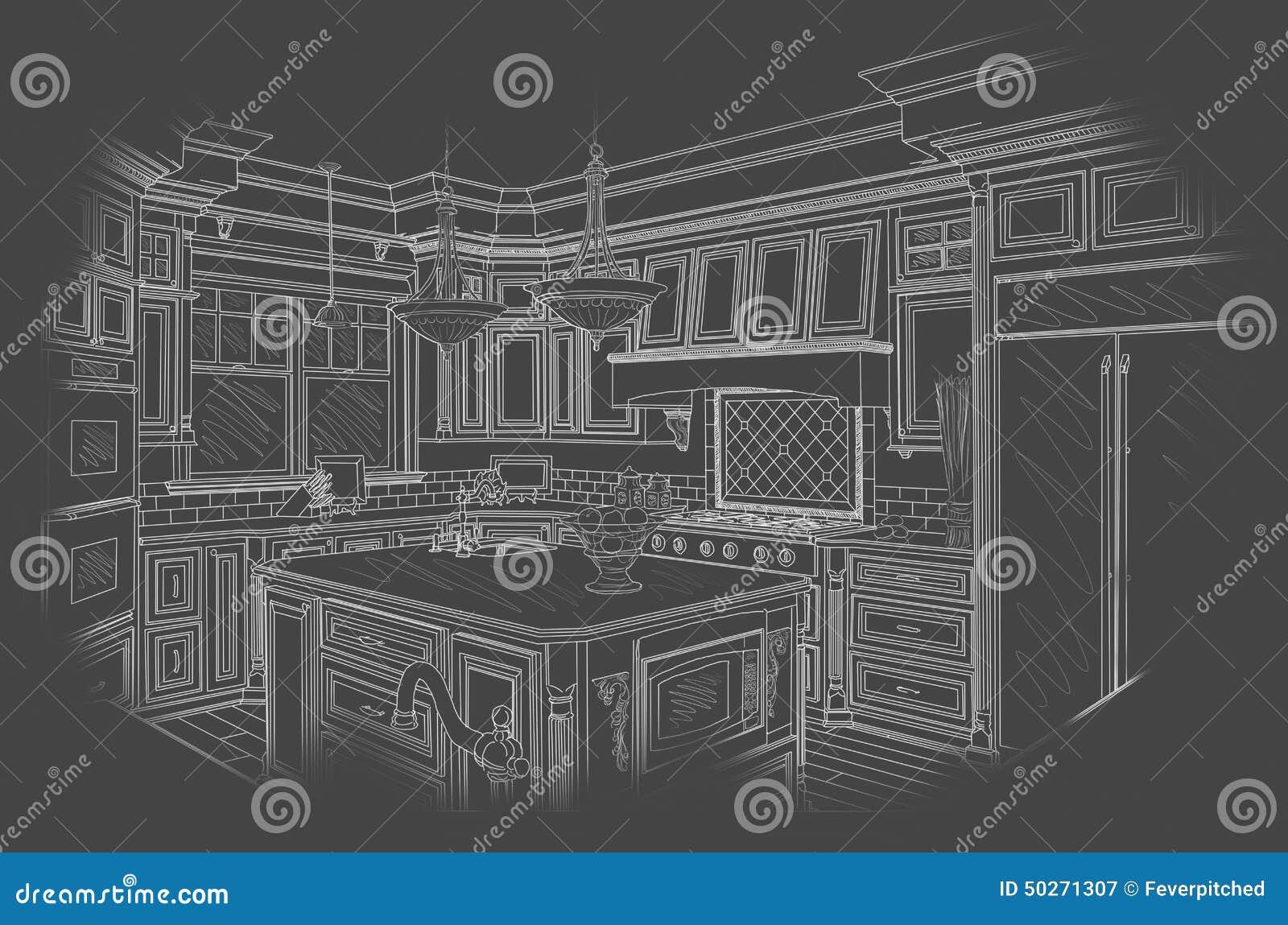 White Custom Kitchen Design Drawing on Grey