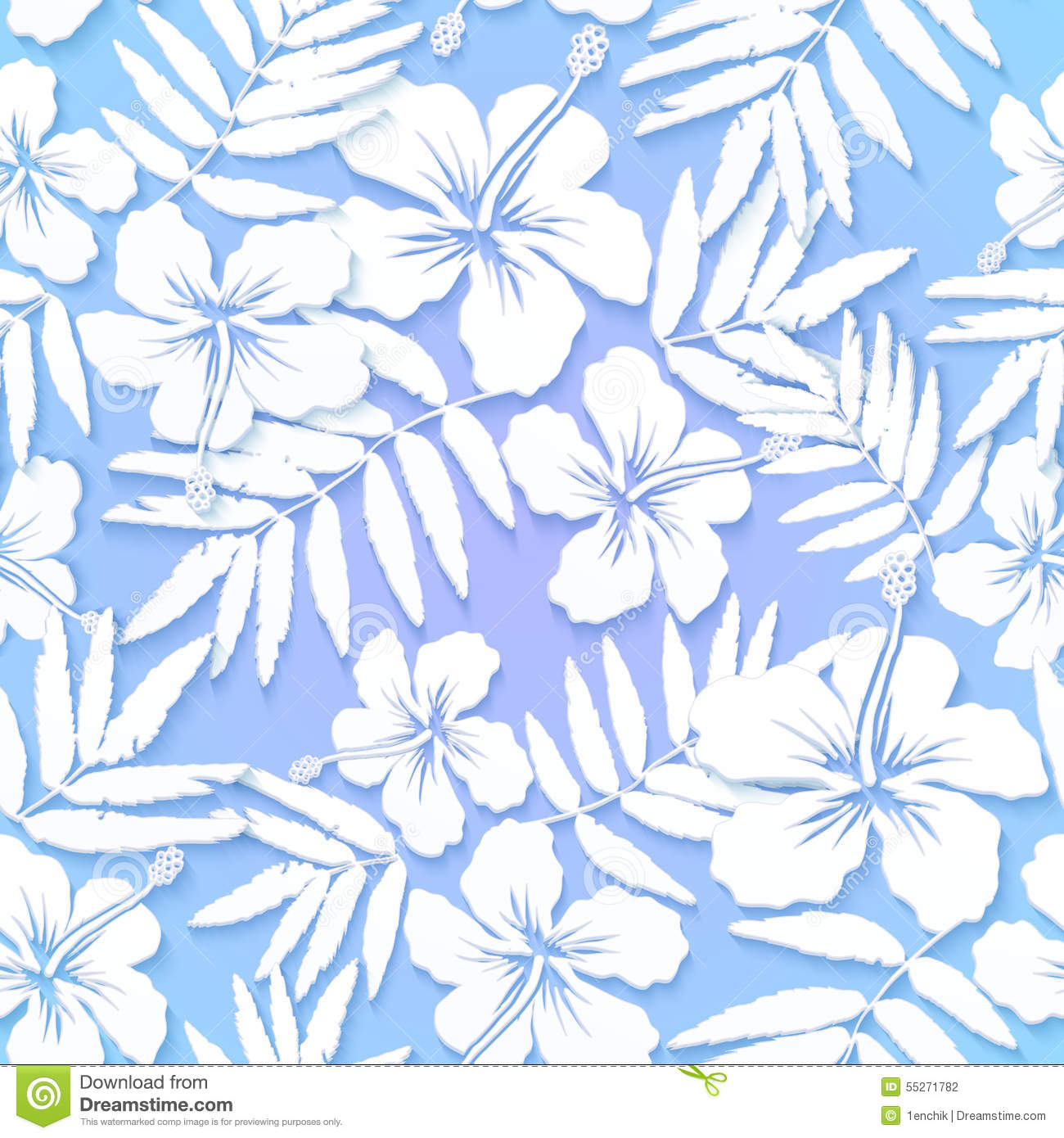 White Cutout Paper Flowers On Blue Background Stock Vector