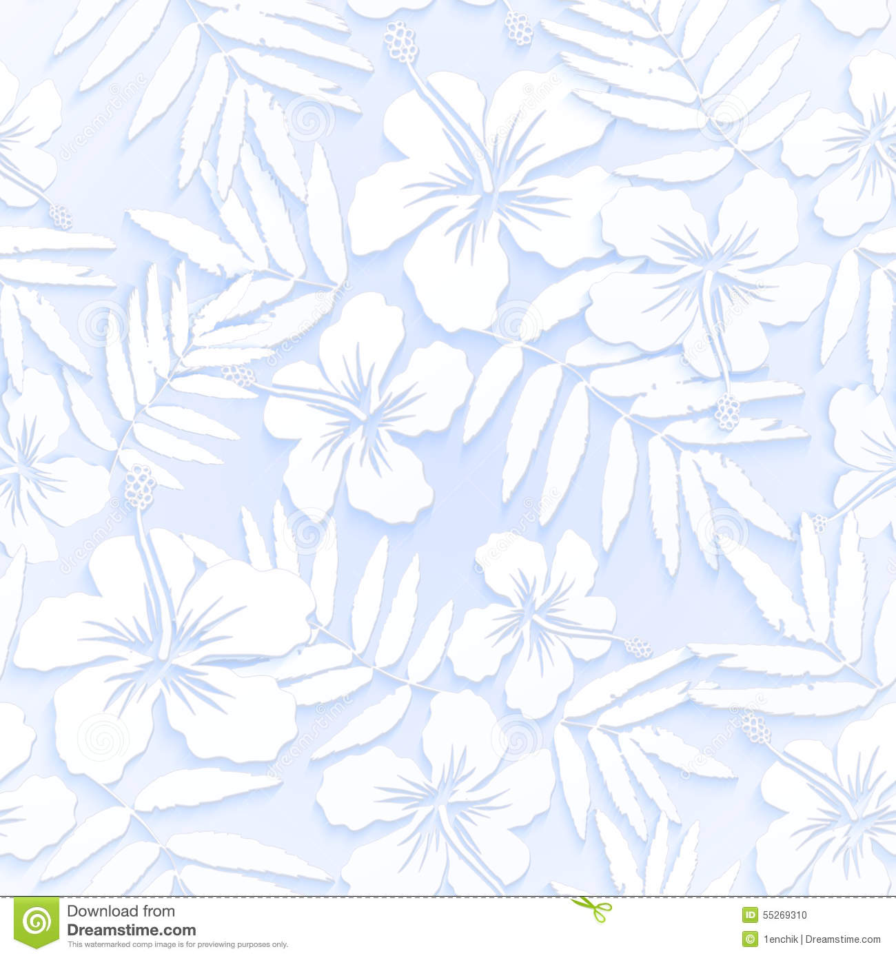 White Cutout Paper Flowers Seamless Pattern Stock Vector
