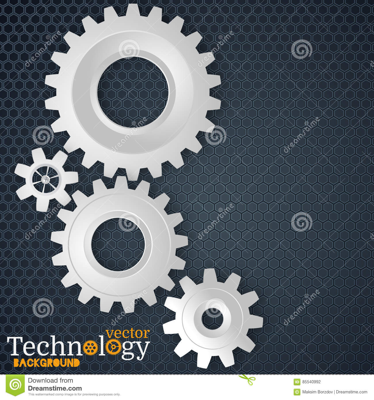 White 3d Gears On The Gray Hexagon Background Stock Vector