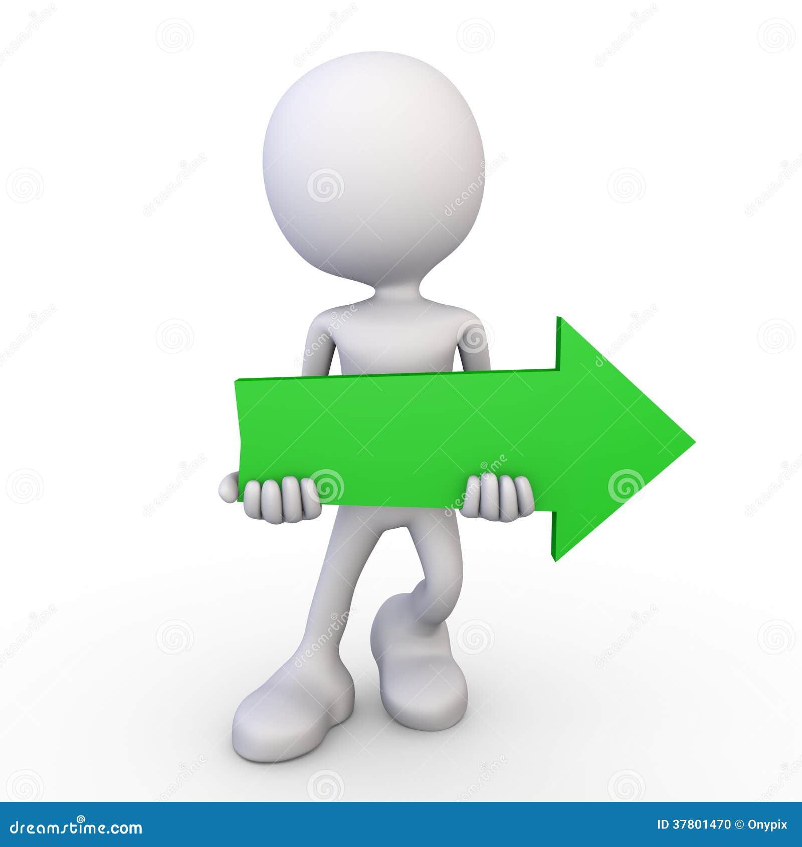 White 3d human - green arrow