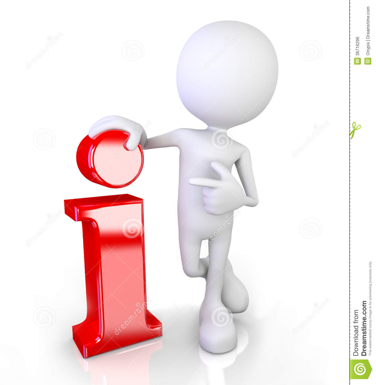 3d render illustration of a white 3d human pointing at an info symbol.