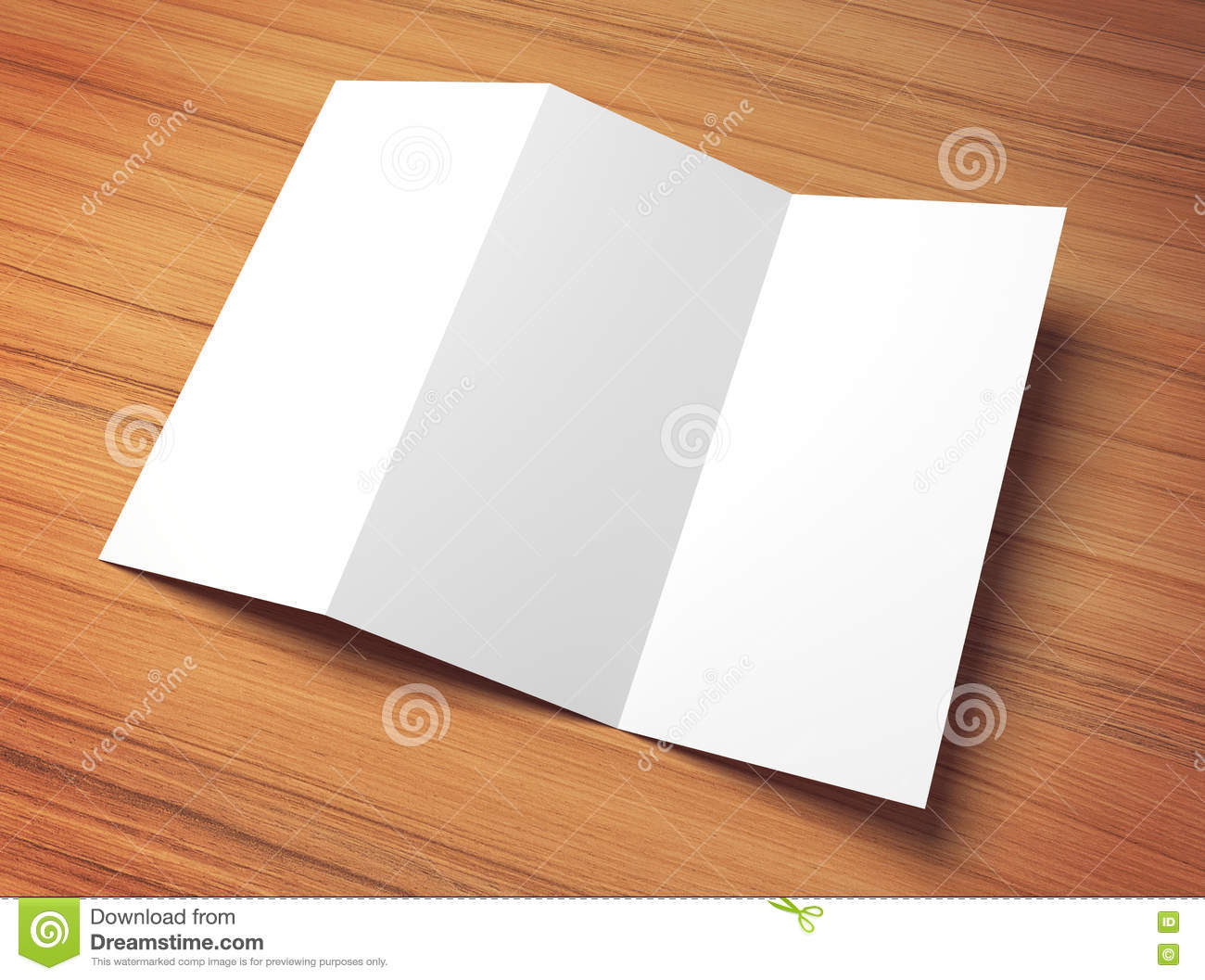 white 3d illustration tri fold paper mock up template stock