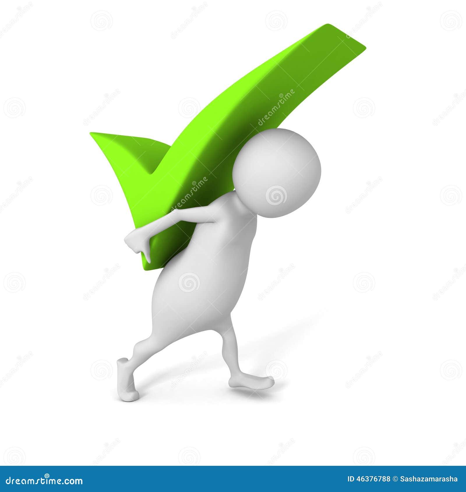 White 3d Man Carry Big Green Check Mark Symbol Stock Illustration