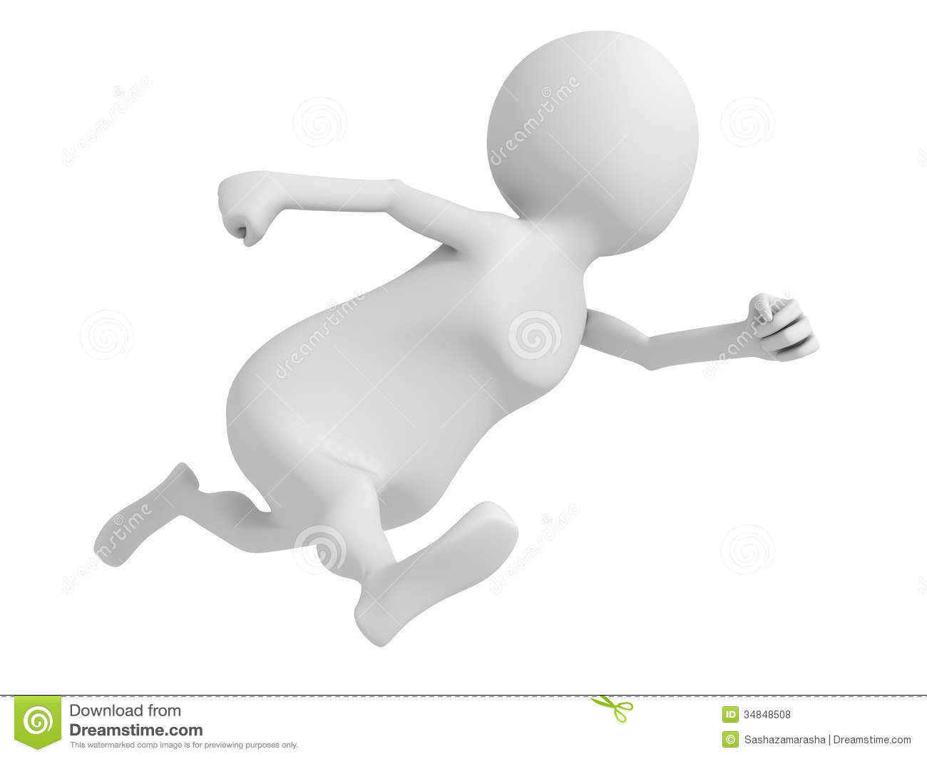 white 3d man fast running hurry up royalty free stock