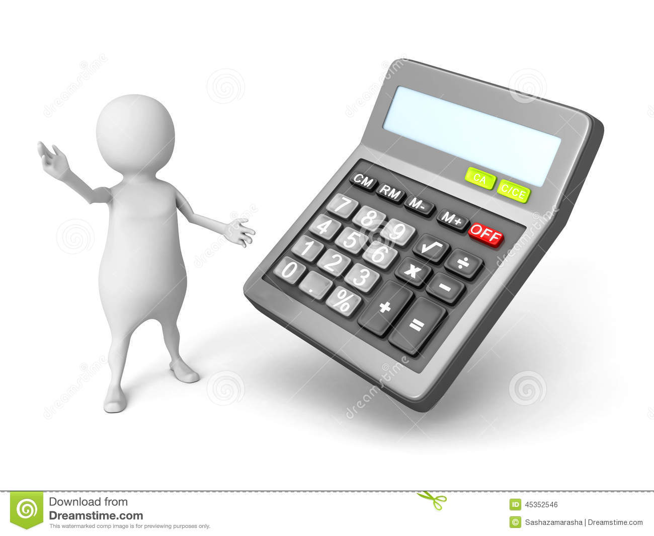 White 3d Man With Office Calculator Stock Illustration