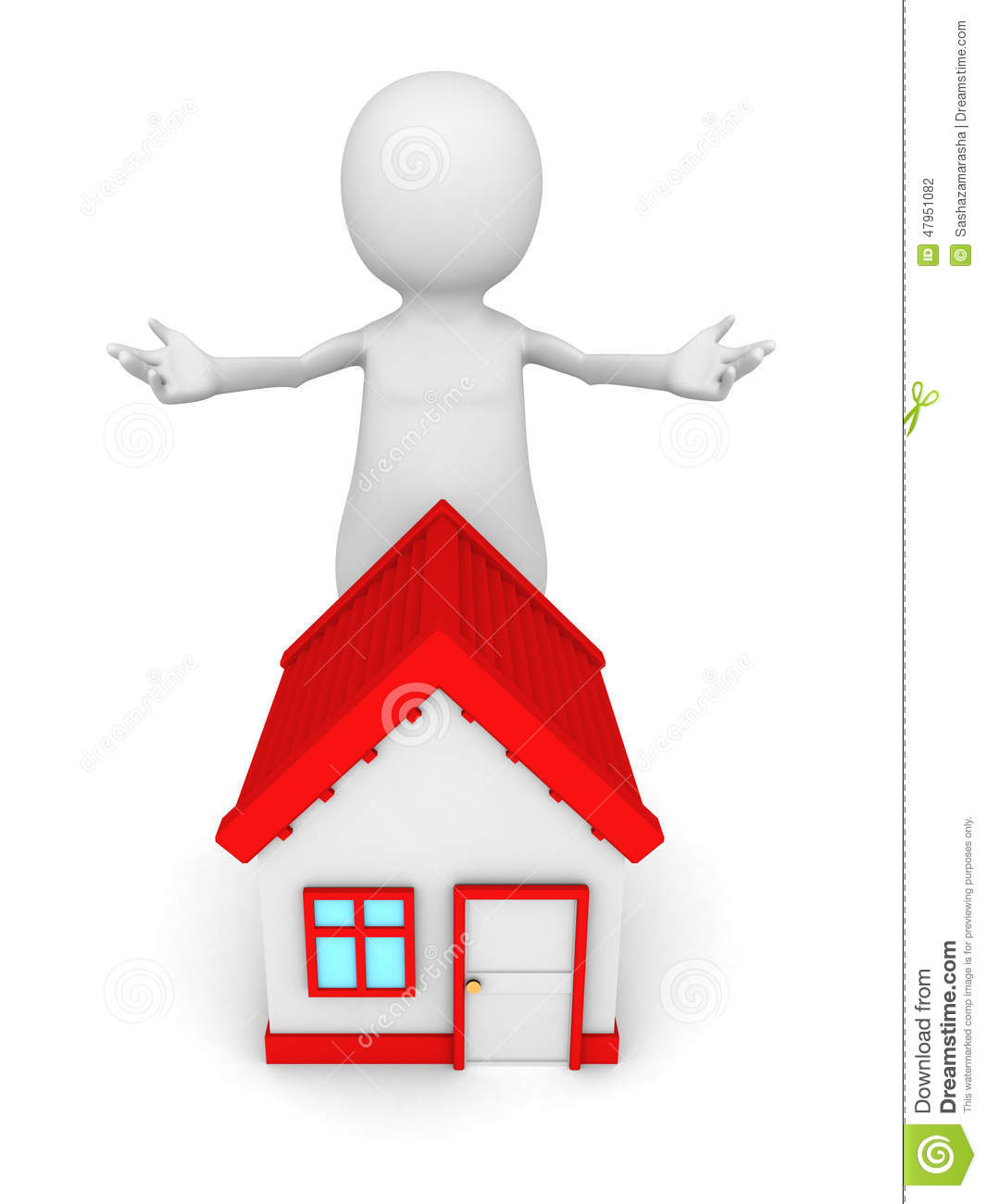 White 3d Man With Red Roof House Welcome Gesture Stock