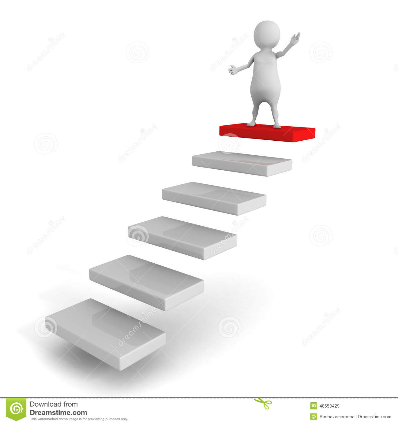 White 3d Man Standing On Top Of Steps. Success Concept