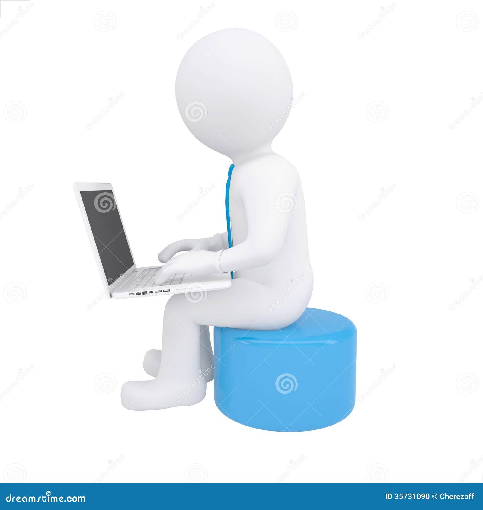 White 3d Man Working At His Laptop Stock Photo Image