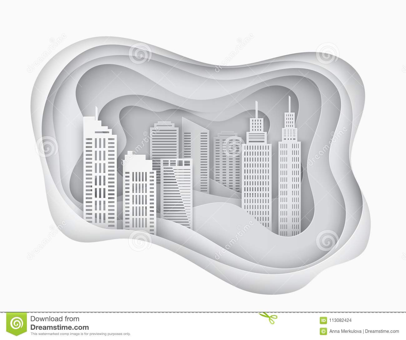 white 3d paper art city skycrapers abstract paper waves stock