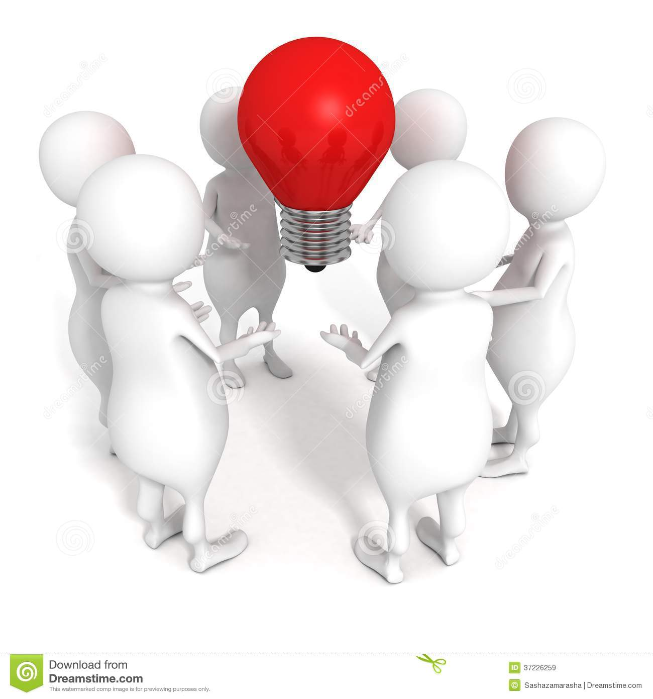 White 3d People Team Grope With Red Idea Concept Light