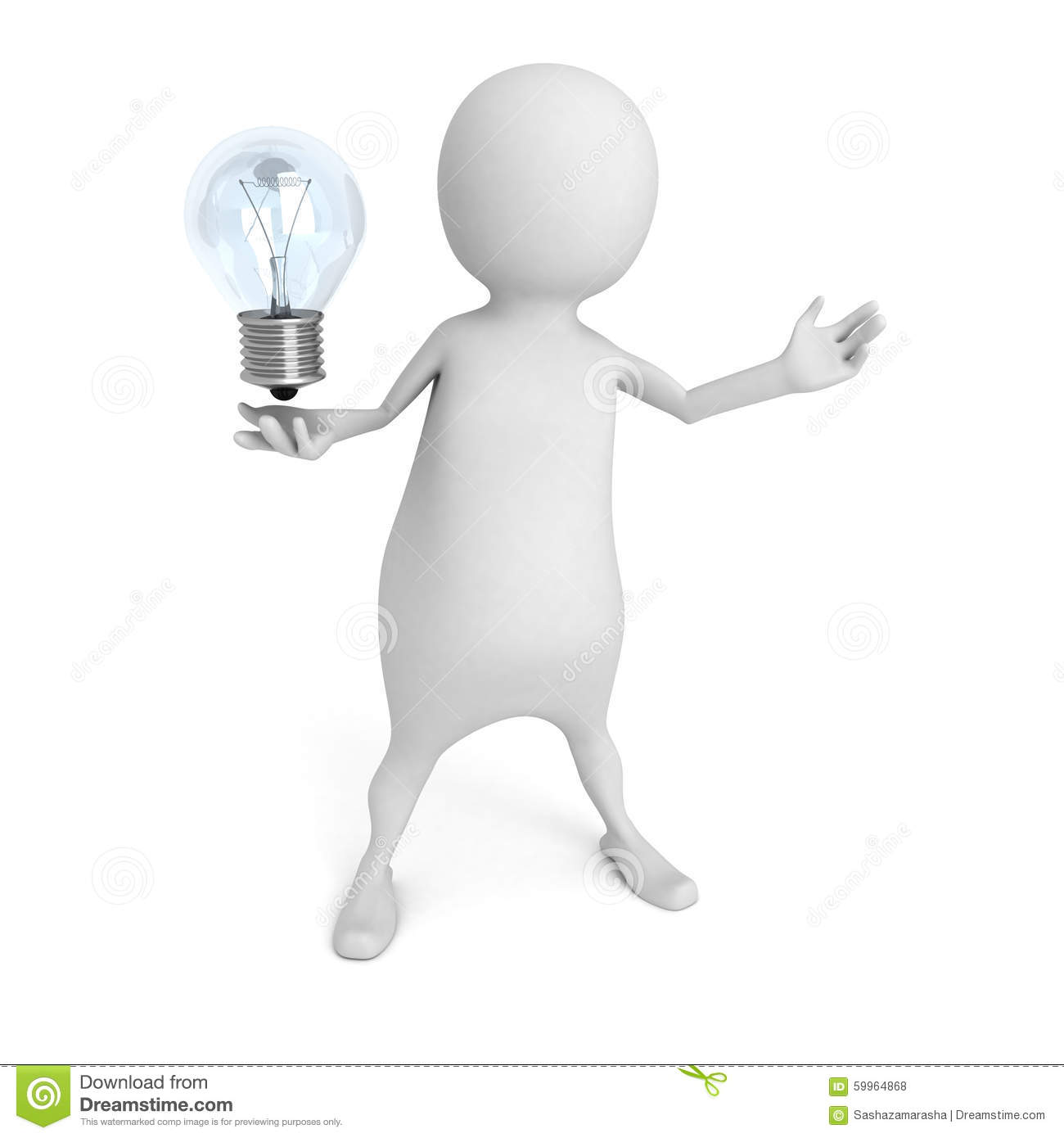 Download White 3d Person Holding Light Bulb Idea Concept Stock Illustration