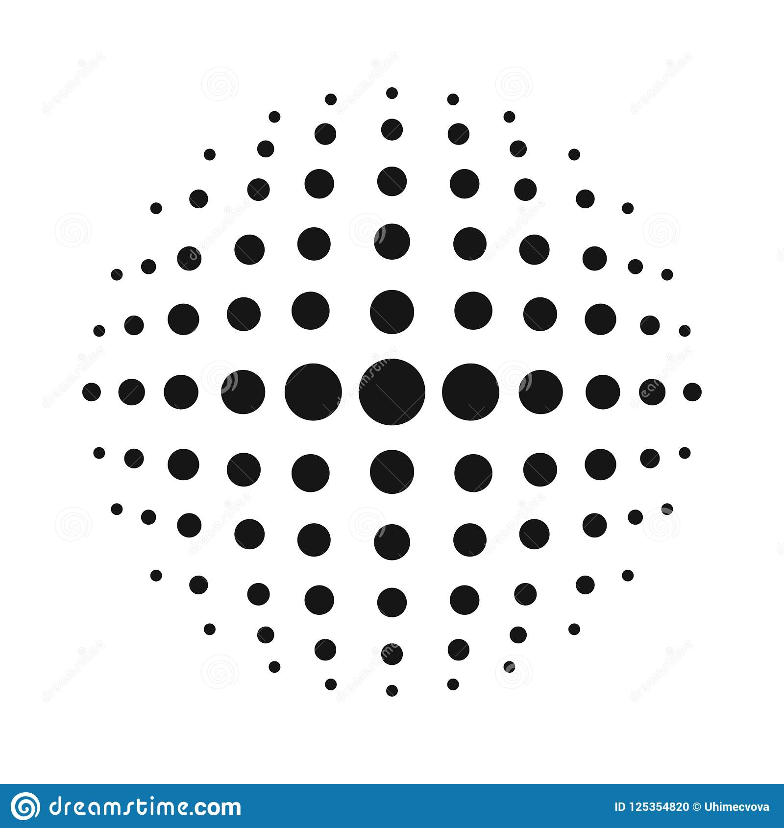 White 3D vector halftone sphere.Dotted spherical background.Logo template with shadow.Circle dots isolated on the white background