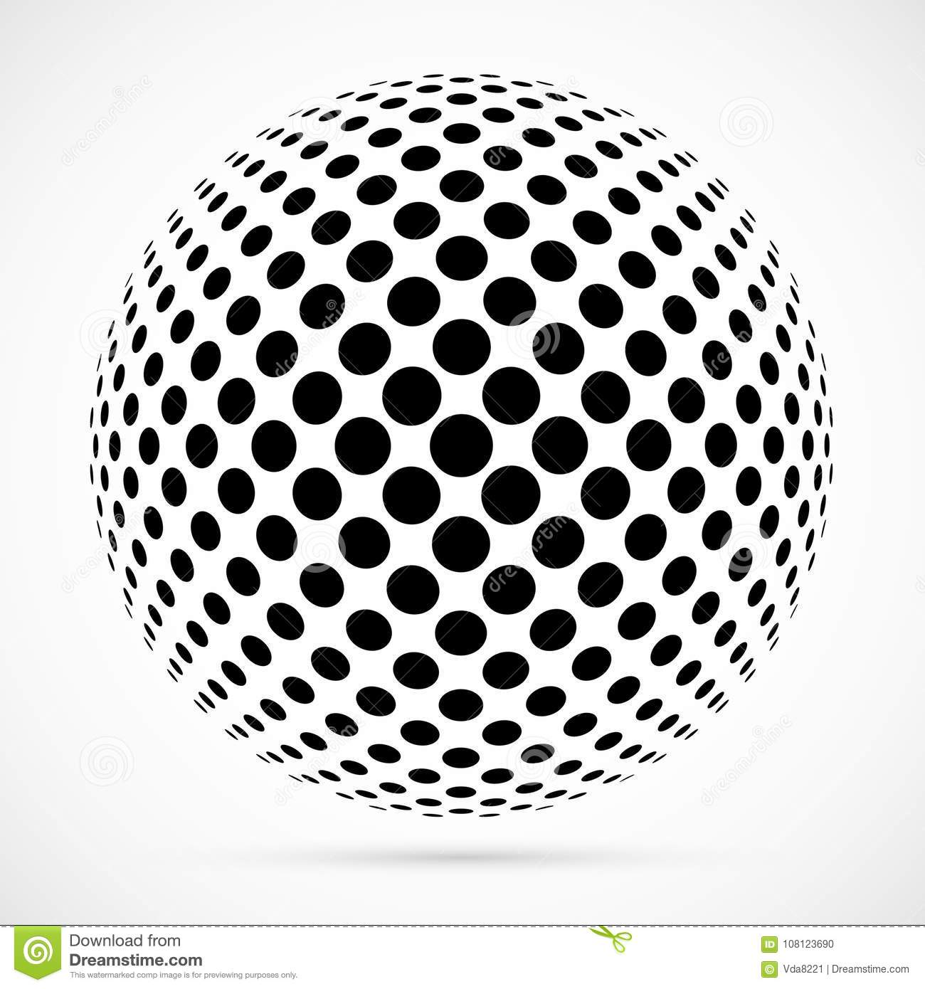 White 3D vector halftone sphere.Dotted spherical background.Logo template with shadow.Circle dots isolated on the white
