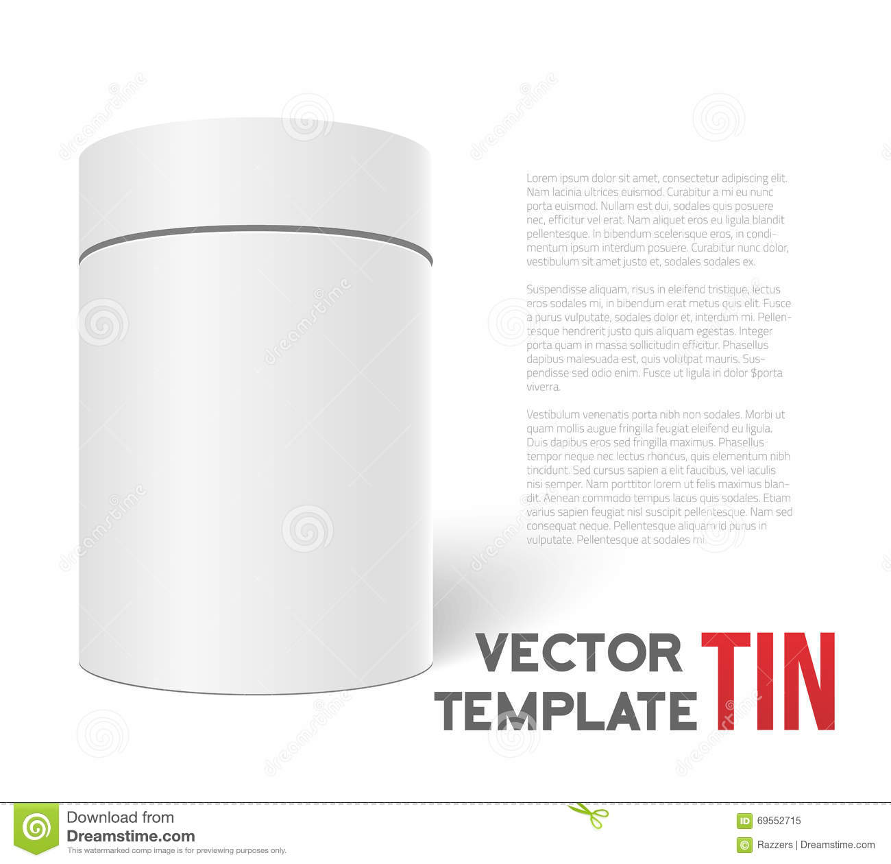 cylinder packaging template - white 3d vector tea box cylinder isolated on white