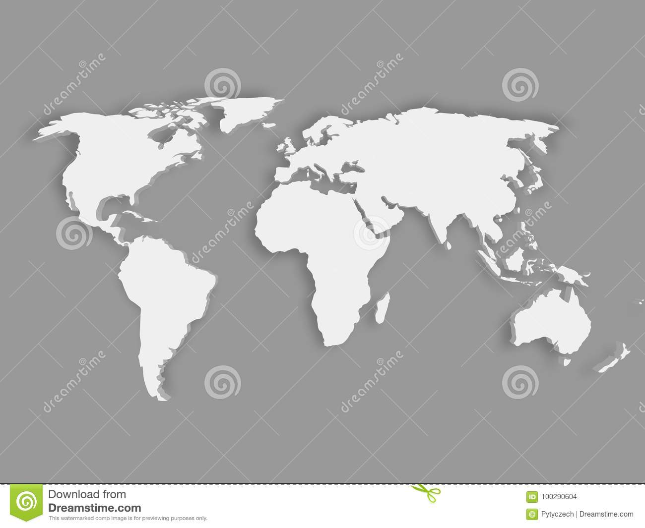 White 3d world map with dropped shadow on grey background stock royalty free vector download white 3d world map with dropped shadow on grey background stock vector illustration gumiabroncs Image collections