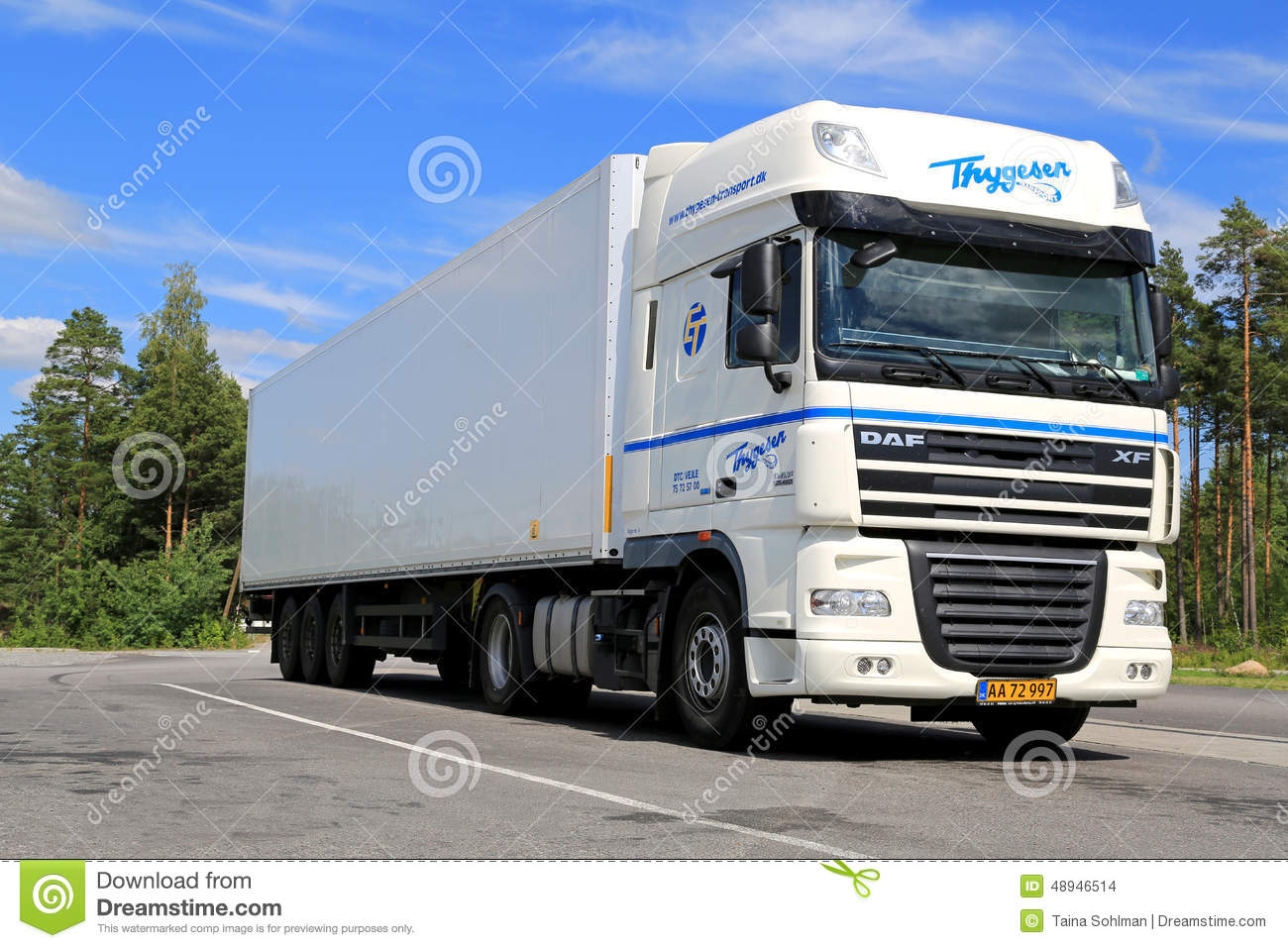 White DAF XF 105 Semi Truck Parked In Summer Editorial Stock