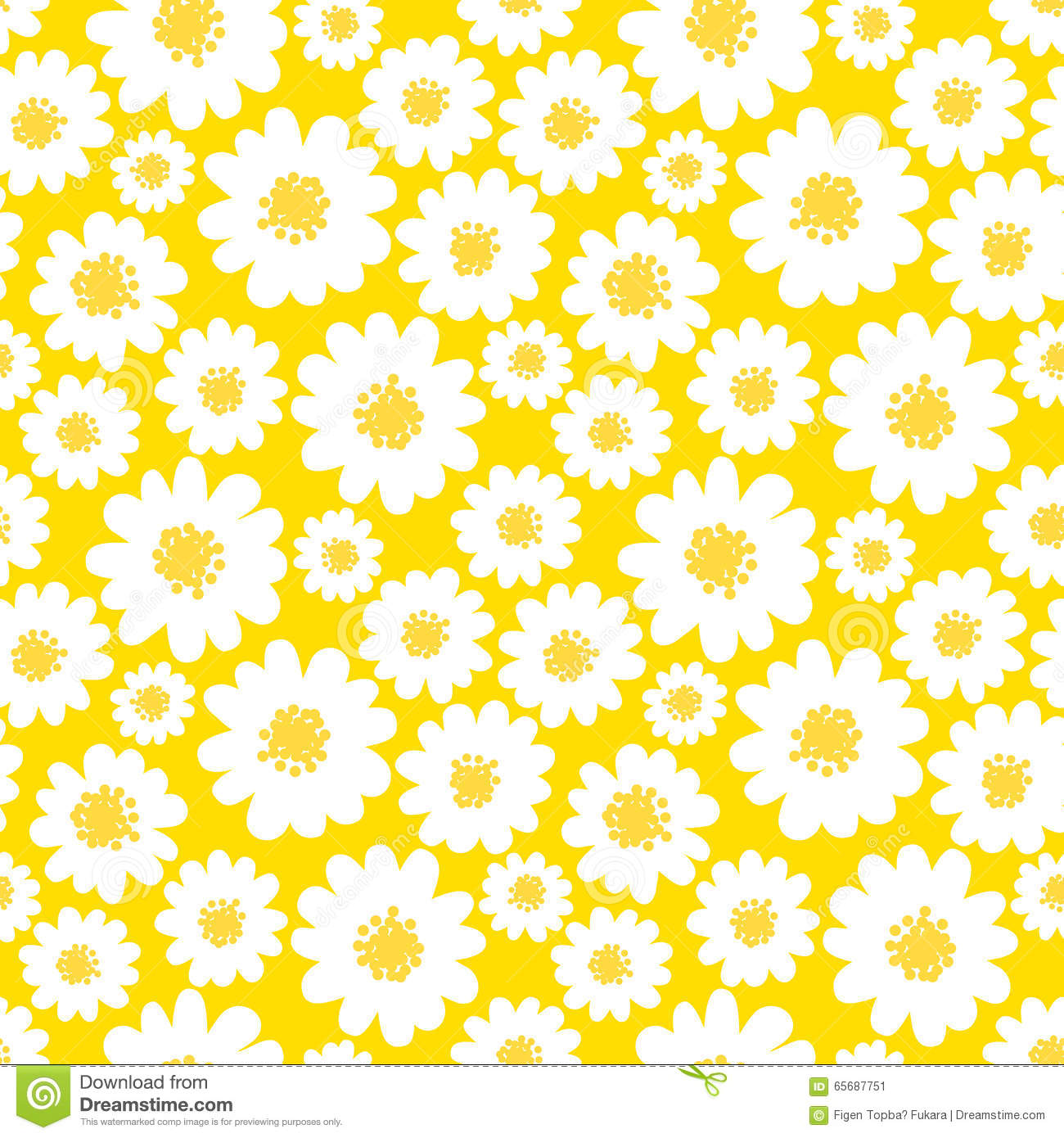 white daisies seamless pattern stock vector illustration