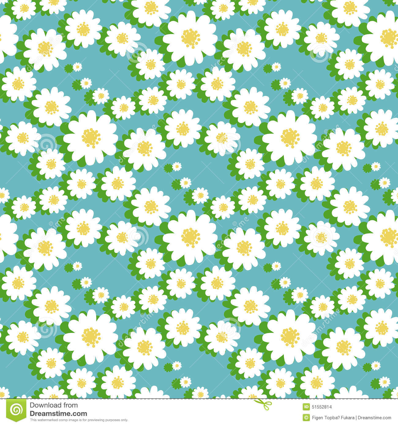 White Daisy Floral Seamless Pattern Stock Vector Illustration Of