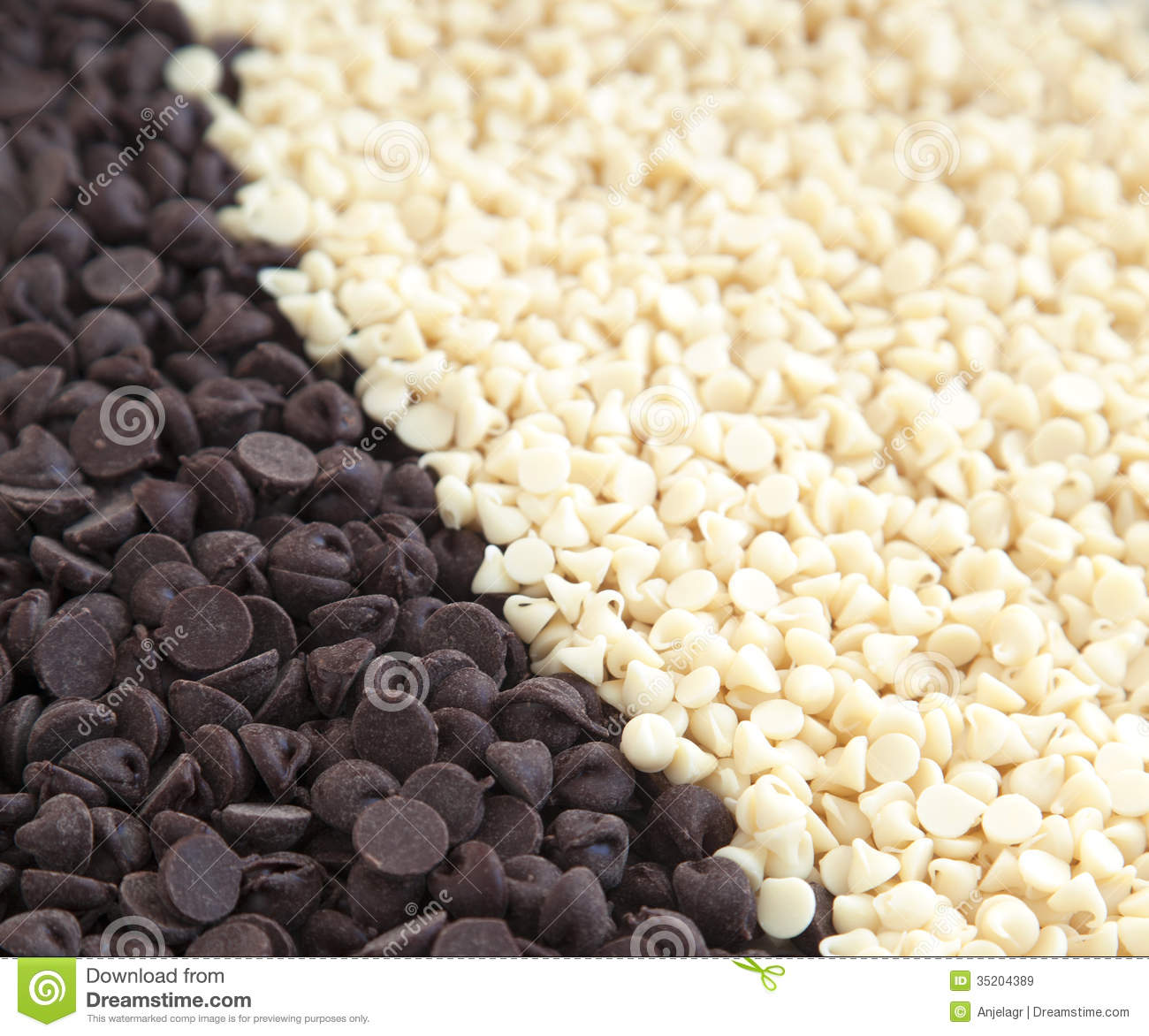 White And Dark Chocolate Chips Background. Royalty Free Stock ...