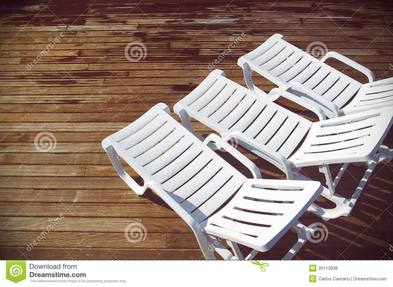 White Deck Chairs Stock Photo Image Of Life Deckchair