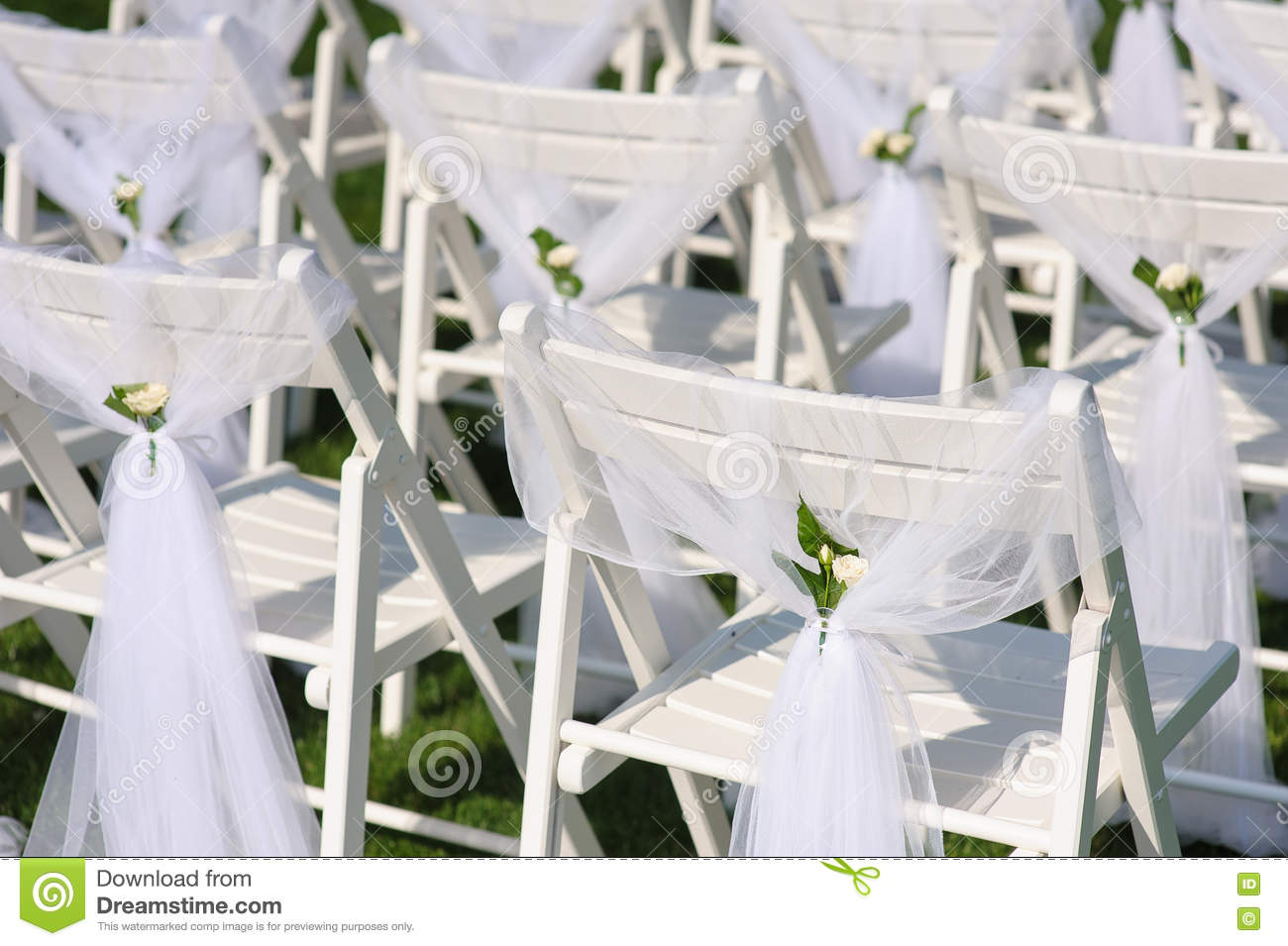 White Chairs At A Wedding Indoor Stock Photo: White Decorated Chairs On A Green Lawn Stock Photo