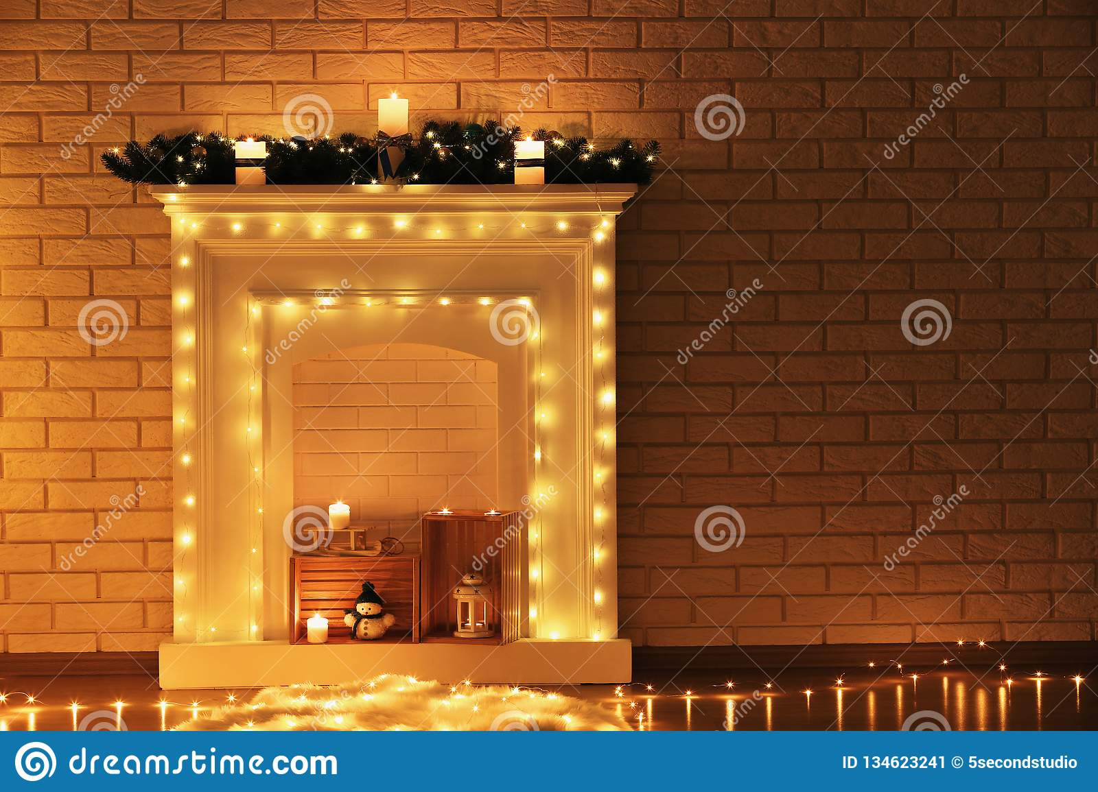 Decorated Fireplace With Candles Stock Image Image Of Fire