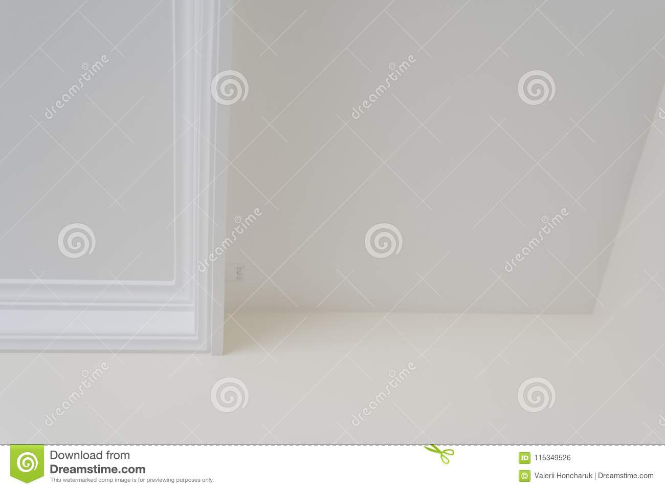White decorative ceiling molding.