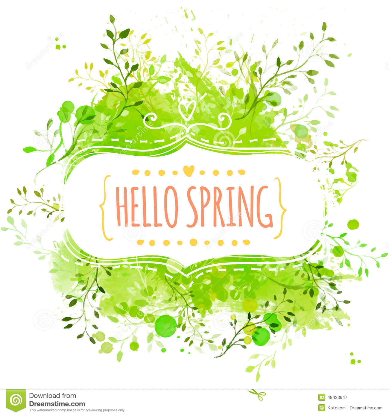 White decorative frame with text hello spring. Green paint splash background with leaves. Fresh vector design for banners