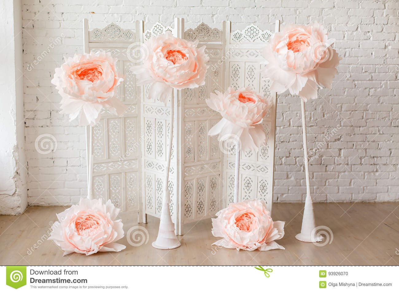 White delicate decorative wood panel with big paper flowers on white download white delicate decorative wood panel with big paper flowers on white brick wall stock mightylinksfo